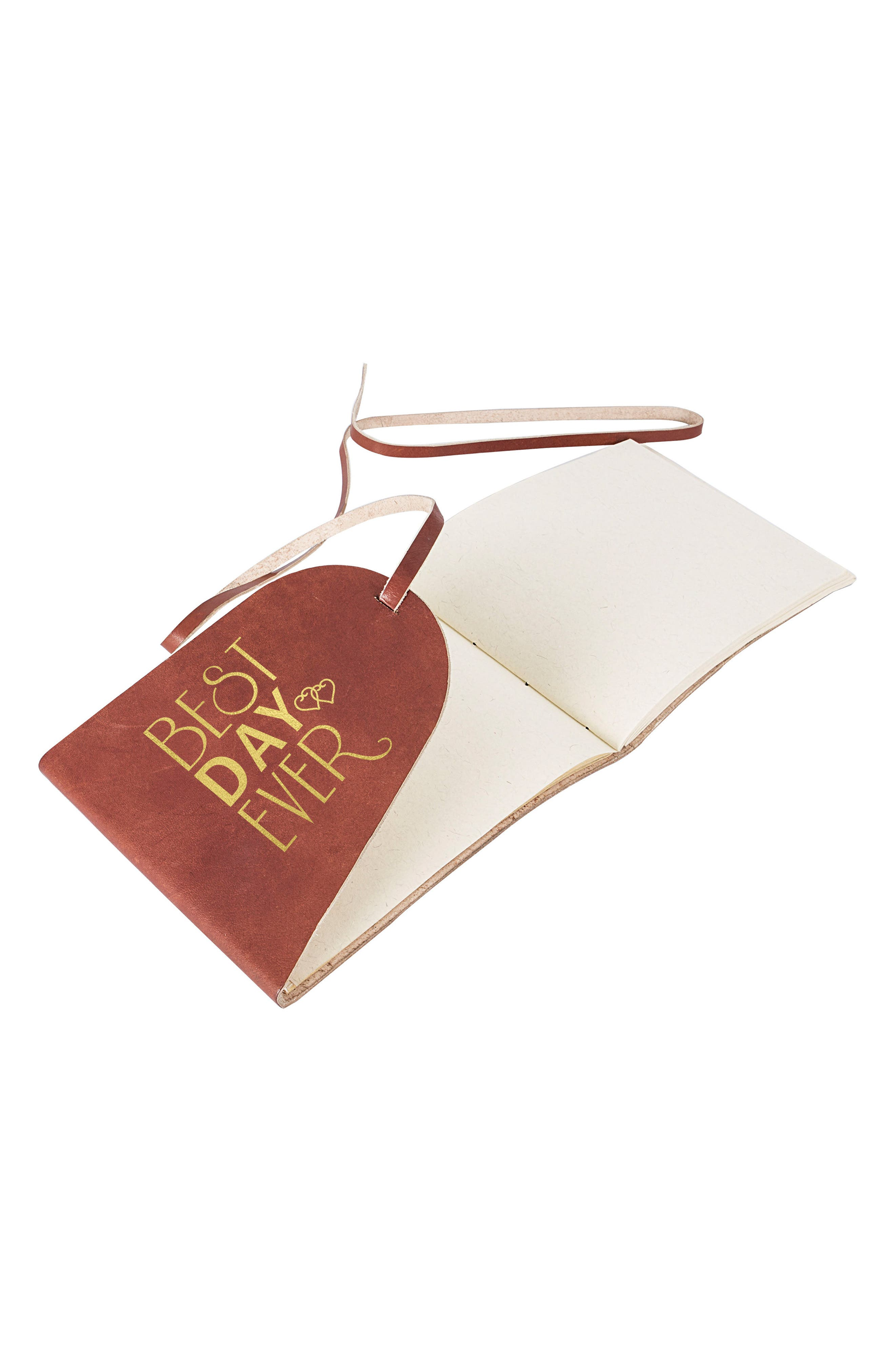 Best Day Ever Leather Guest Book,                         Main,                         color, Gold