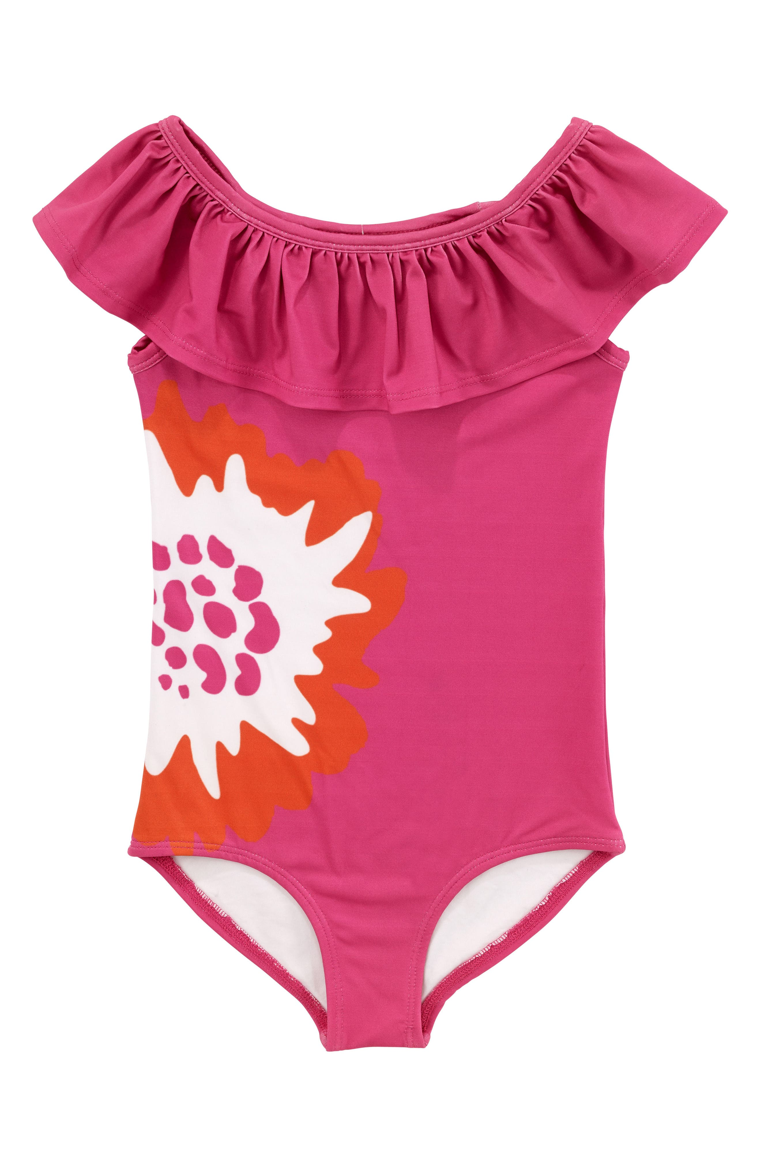 Coral Print One-Piece Swimsuit,                         Main,                         color, Pink
