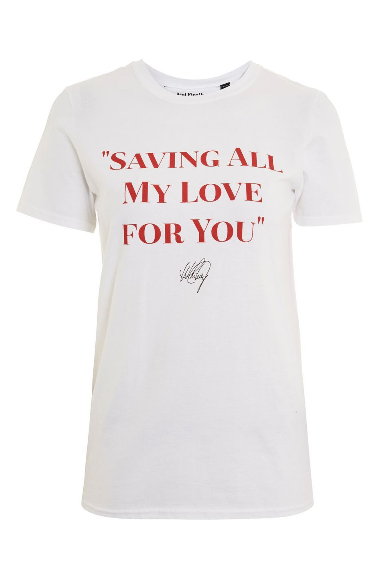 Saving All My Love Tee,                             Alternate thumbnail 4, color,                             White Multi
