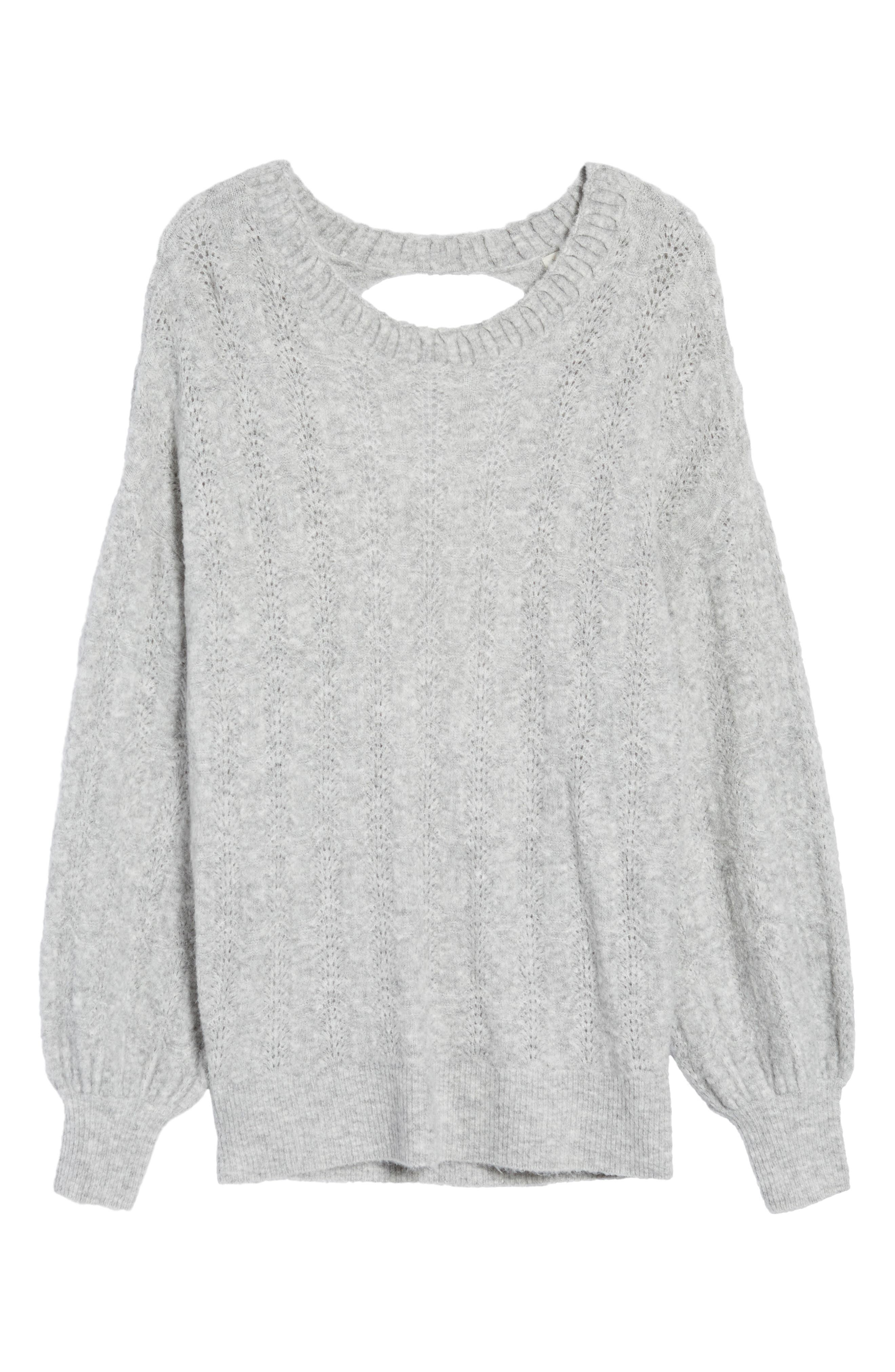 Open Back Sweater,                             Alternate thumbnail 6, color,                             Grey Heather