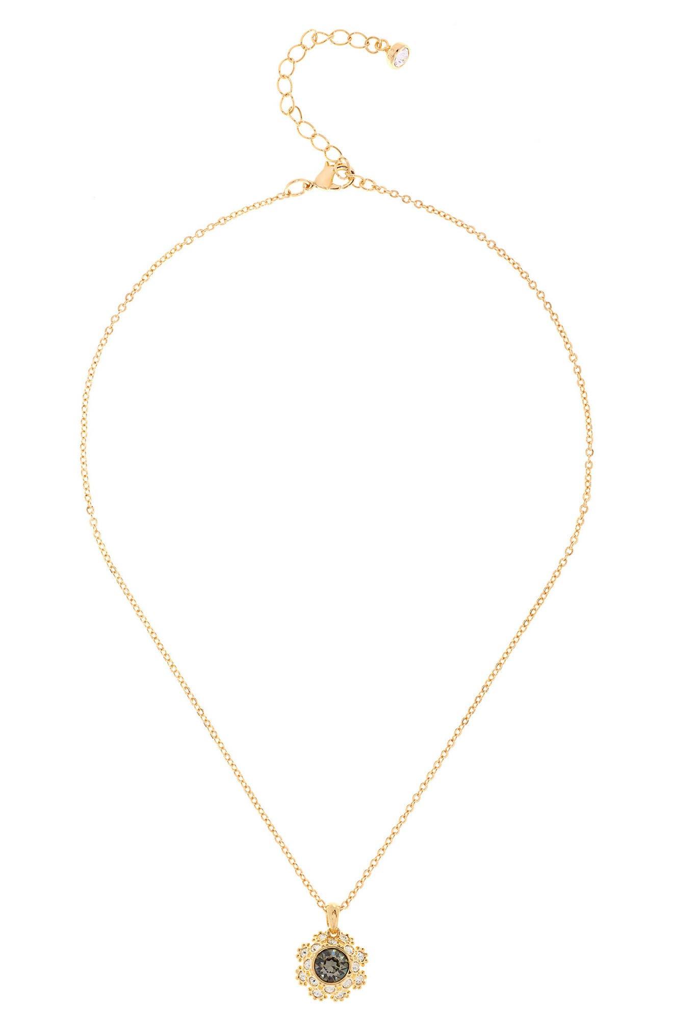 Crystal Daisy Lace Pendant Necklace,                             Main thumbnail 1, color,                             Jet