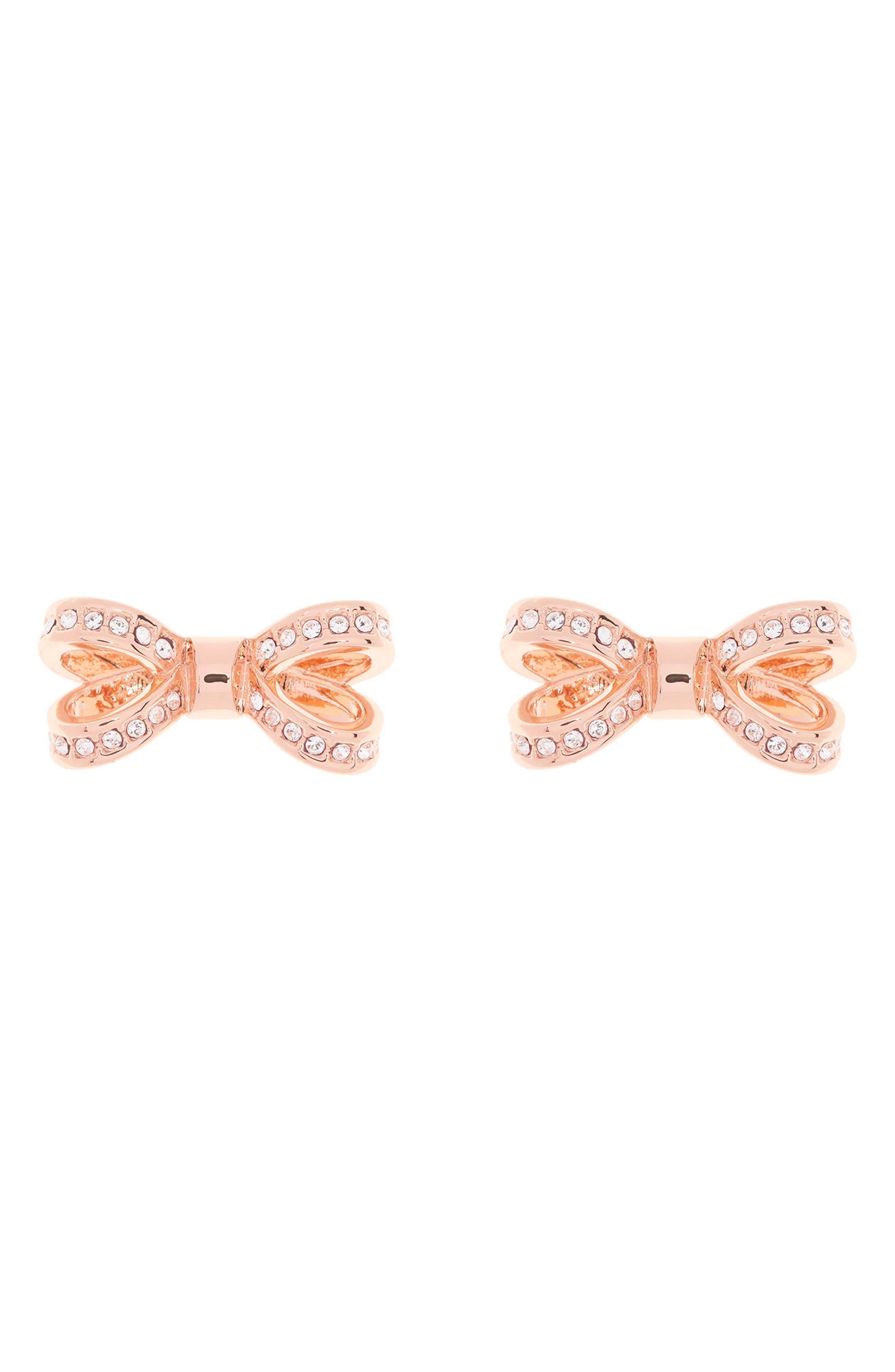 Mini Opulent Pavé Bow Stud Earrings,                             Main thumbnail 1, color,                             Rose Gold