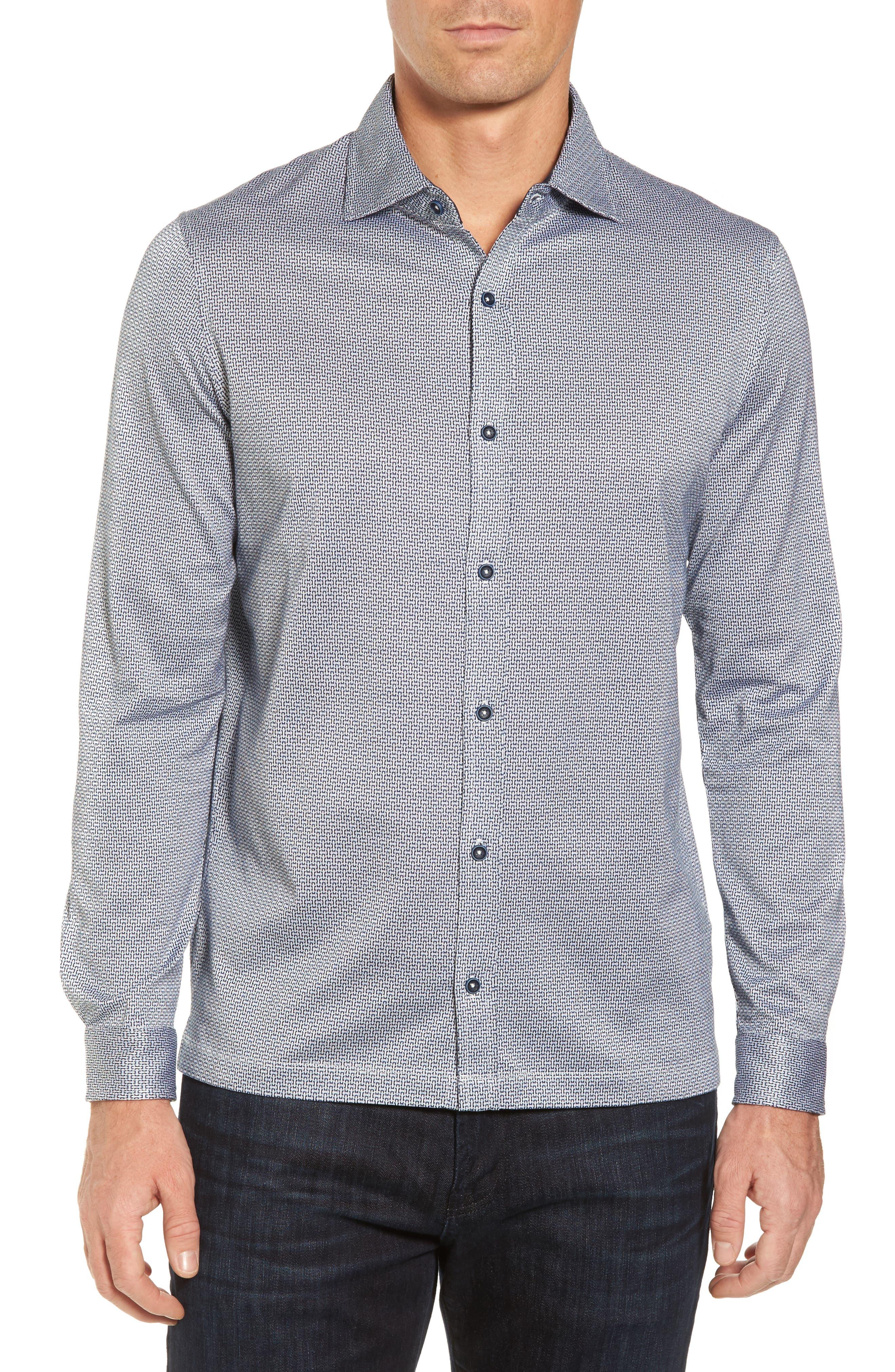 Main Image - Bugatchi Print Knit Sport Shirt