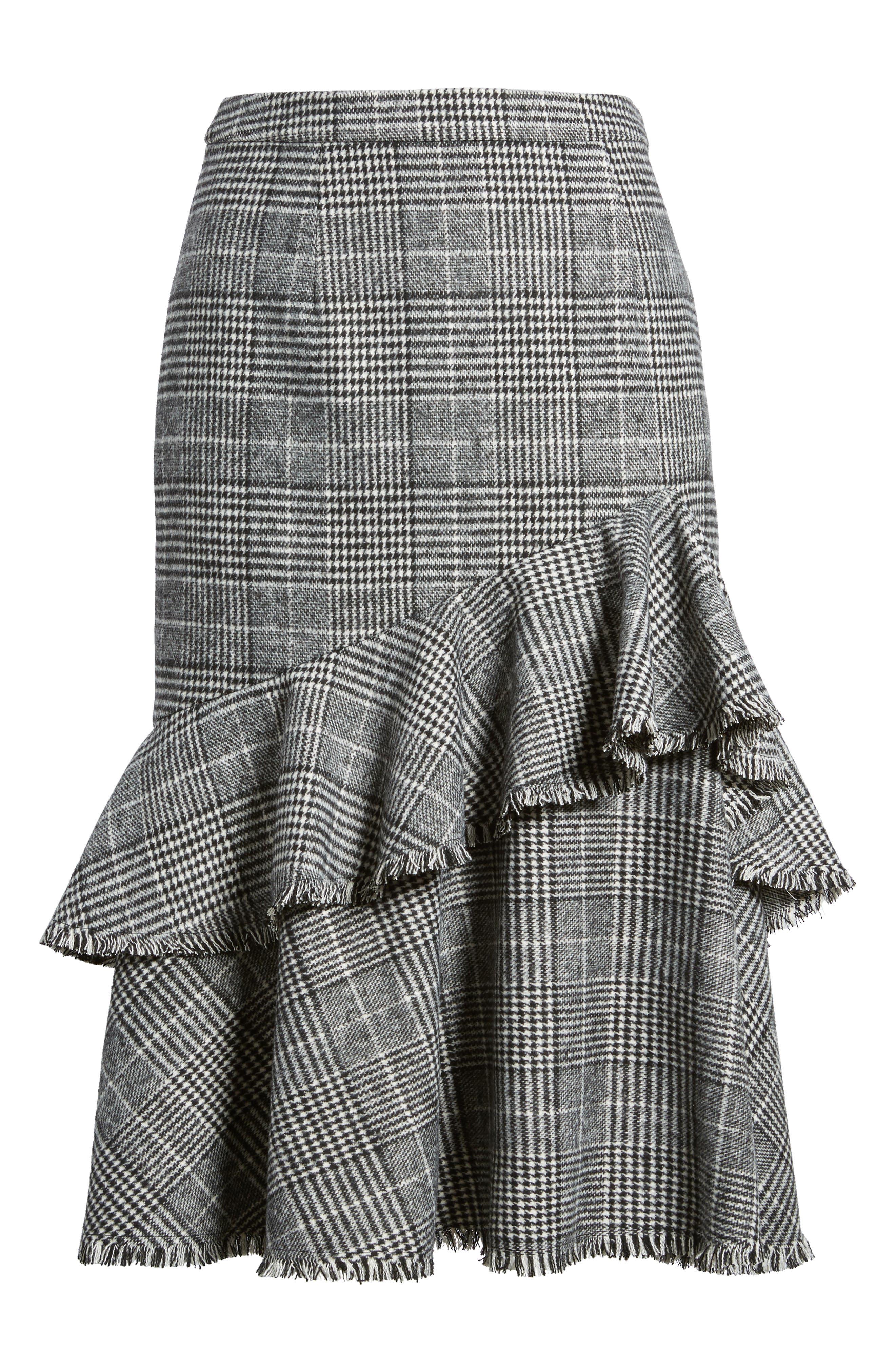 Alternate Image 6  - Halogen® Ruffle Plaid Skirt