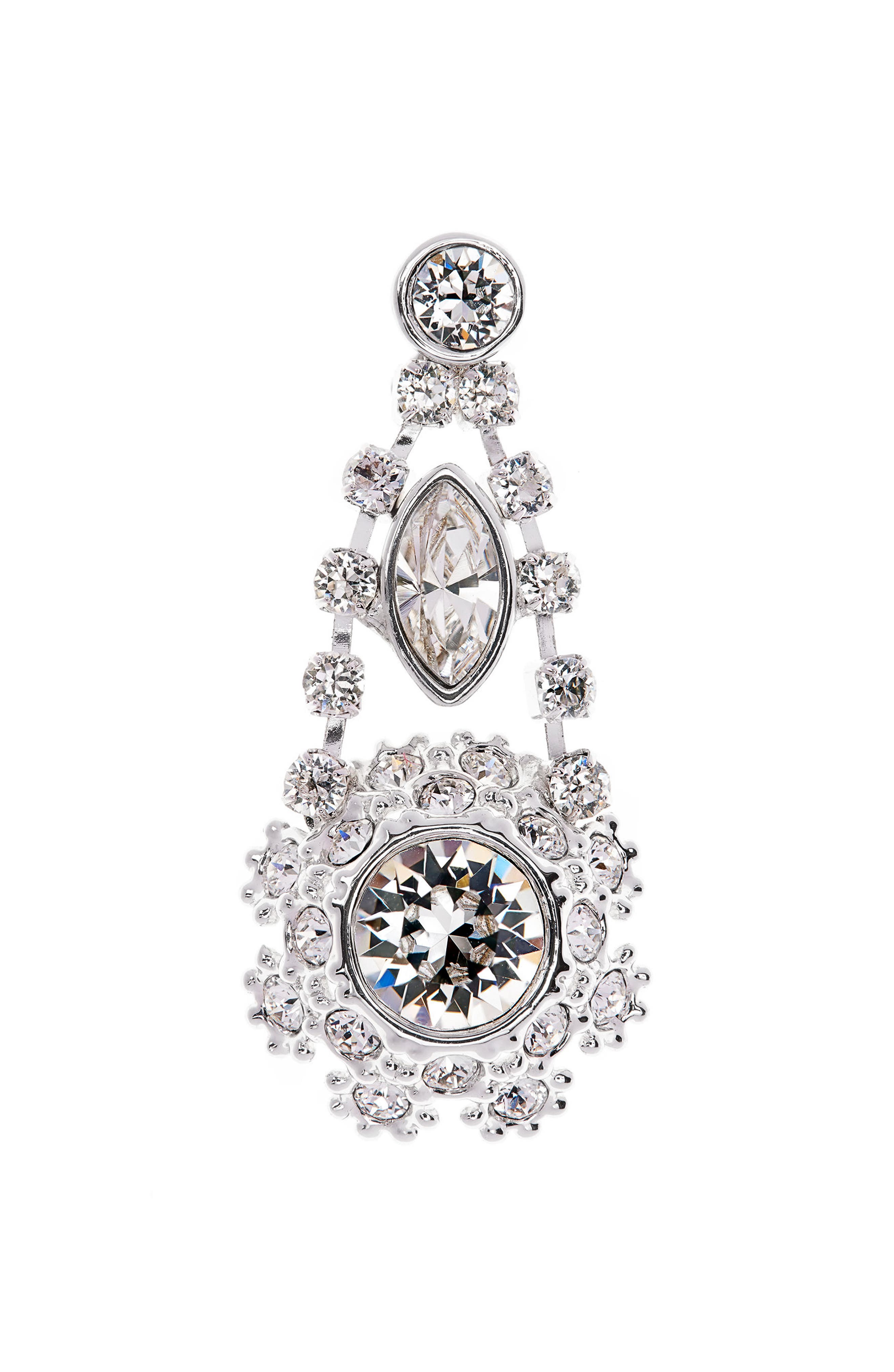Crystal Daisy Lace Drop Earrings,                             Alternate thumbnail 4, color,                             Clear