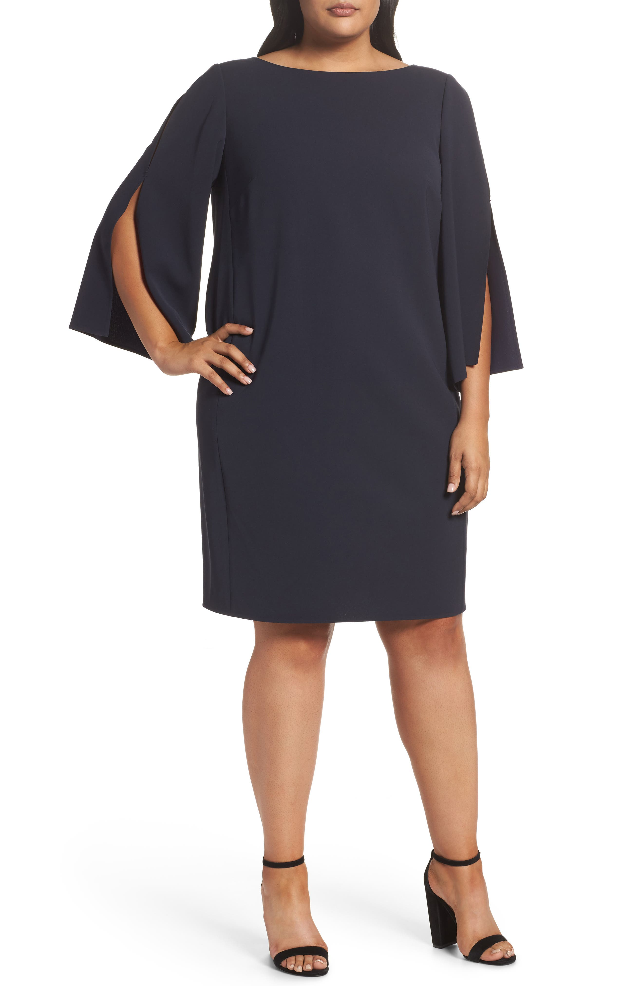 Candace Crepe Shift Dress,                         Main,                         color, Ink