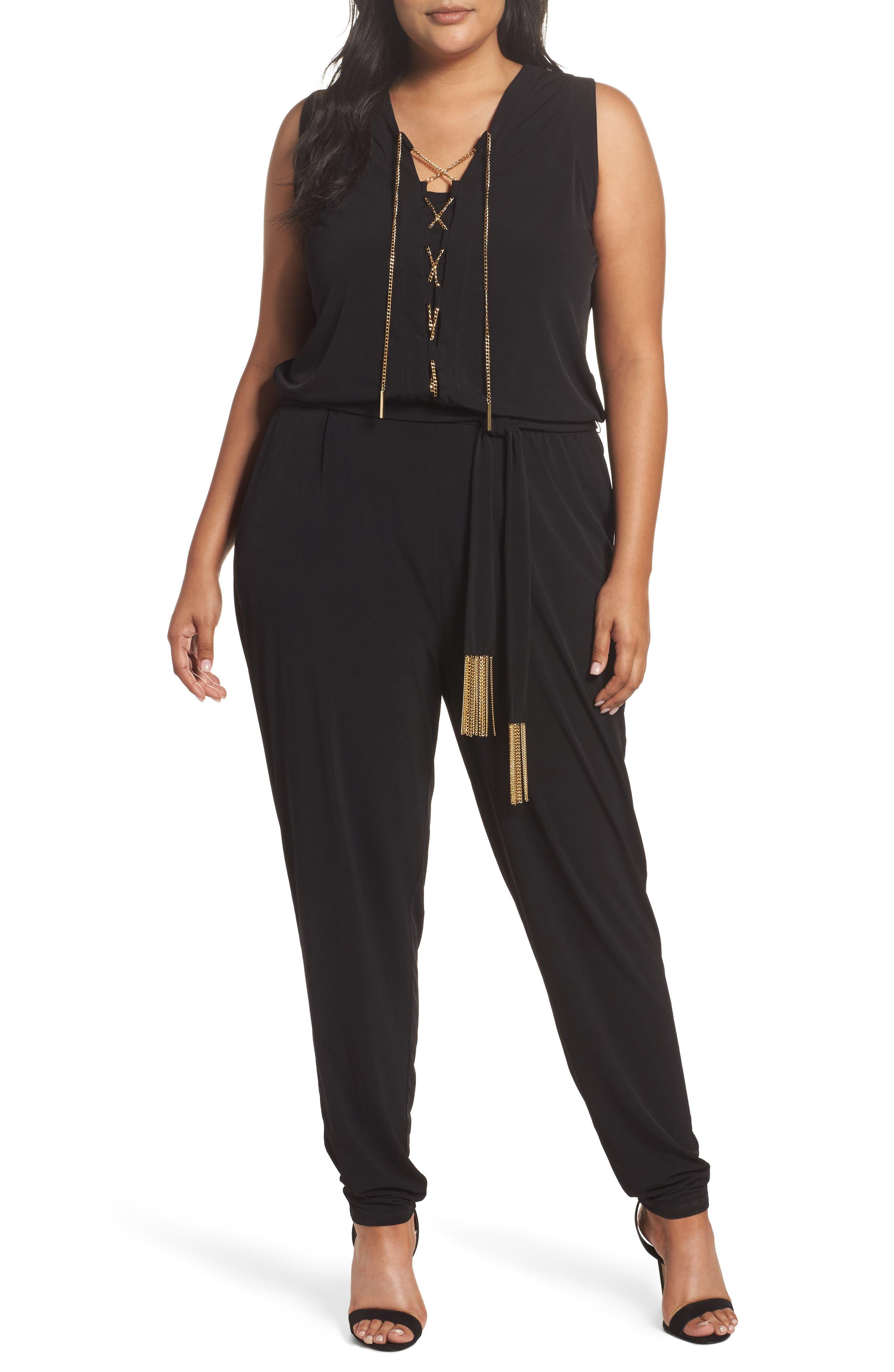 Main Image - MICHAEL Michael Kors Lace-Up Sleeveless Jumpsuit (Plus Size)