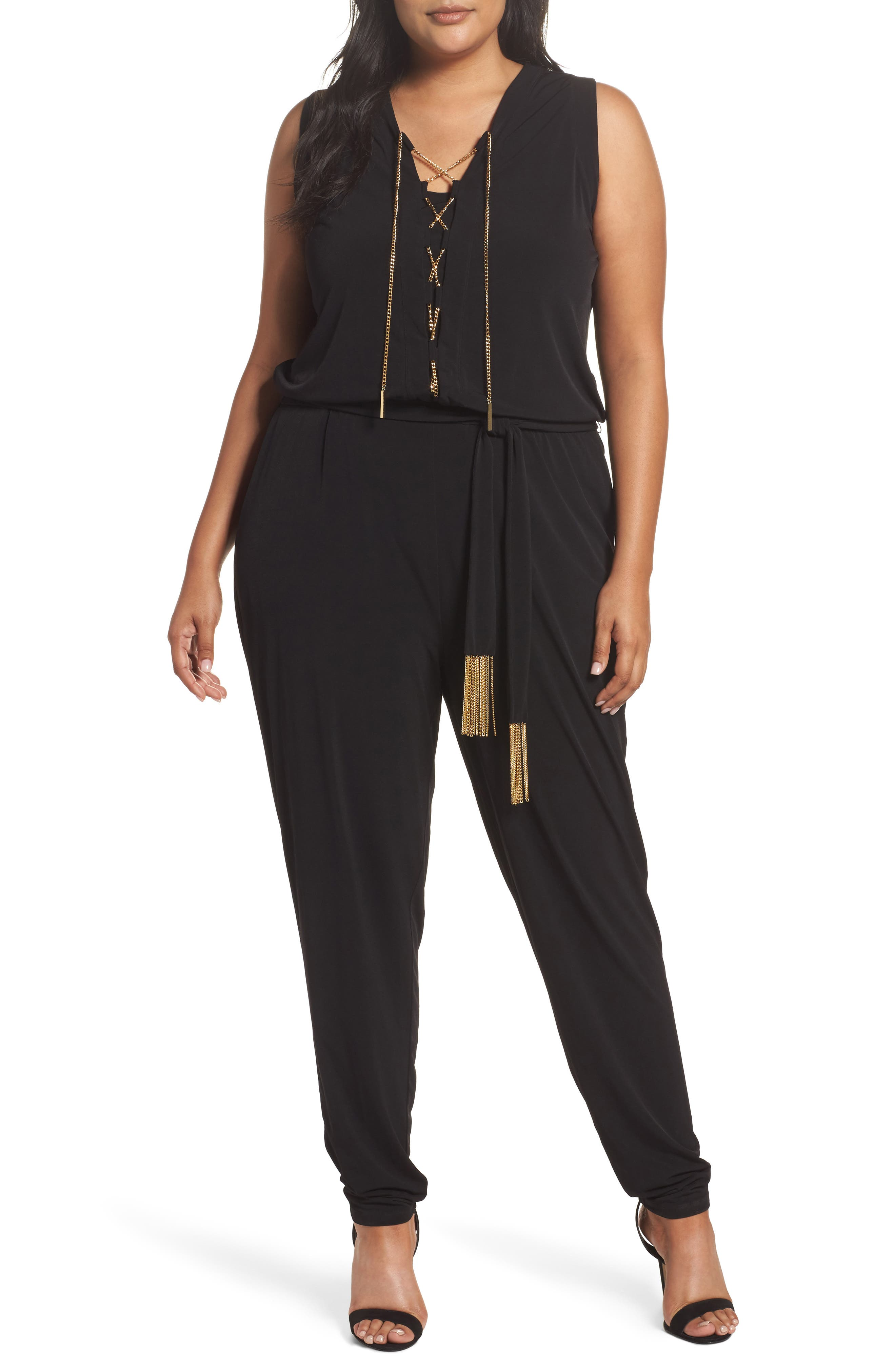 Lace-Up Sleeveless Jumpsuit,                         Main,                         color, Black