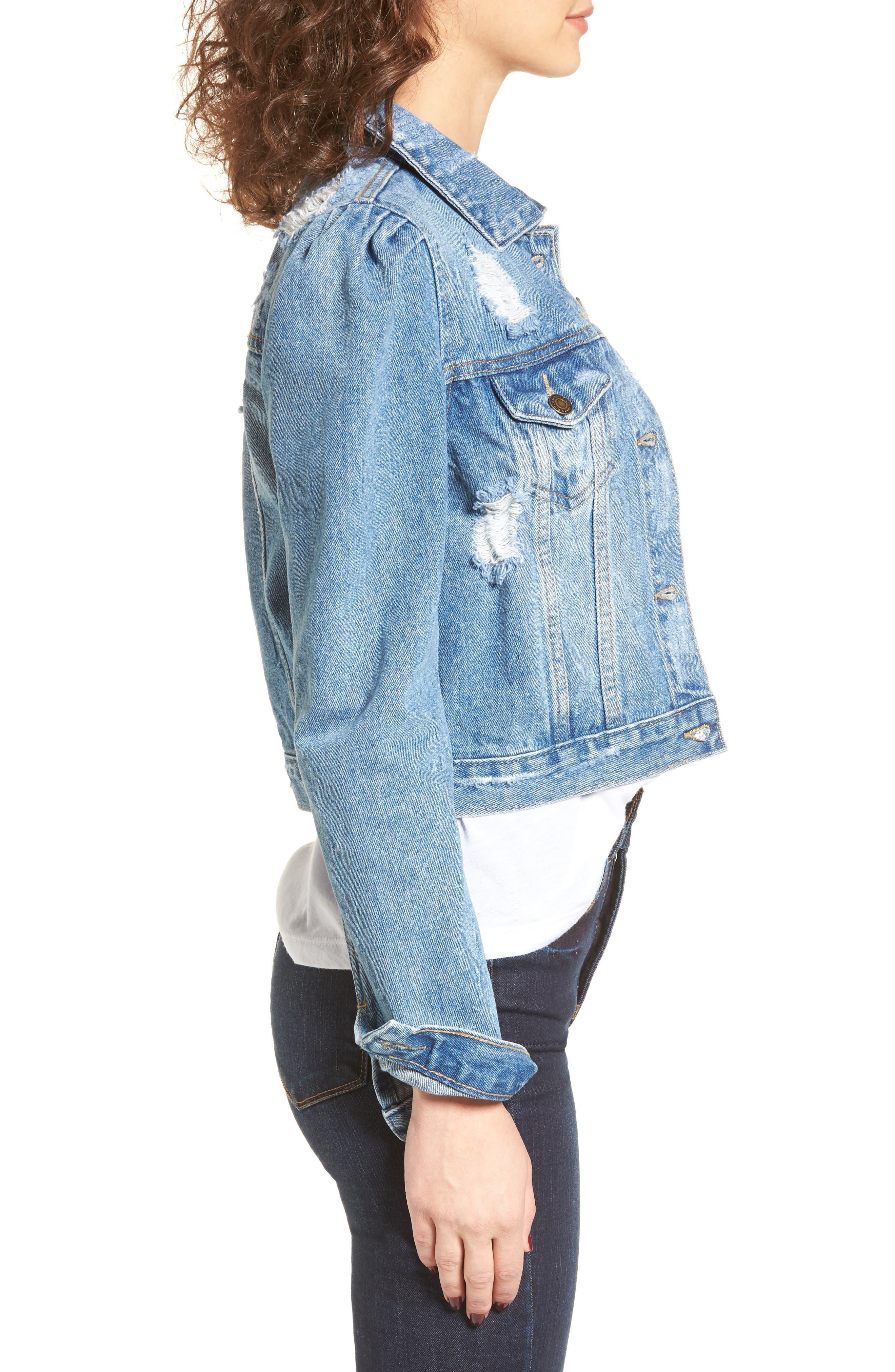 Alternate Image 3  - MOON RIVER Distressed Denim Jacket