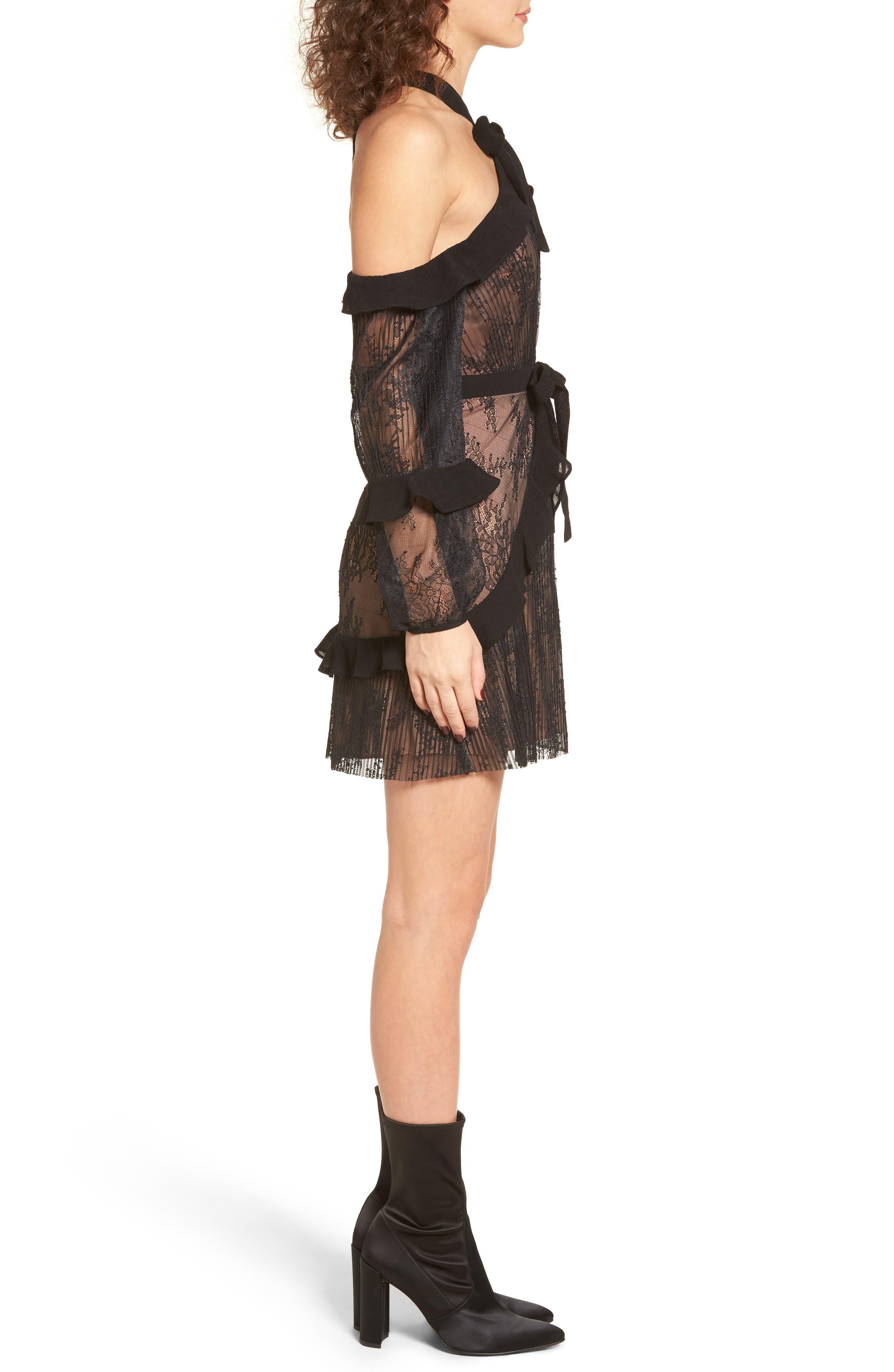 Margo Cold Shoulder Minidress,                             Alternate thumbnail 3, color,                             Black