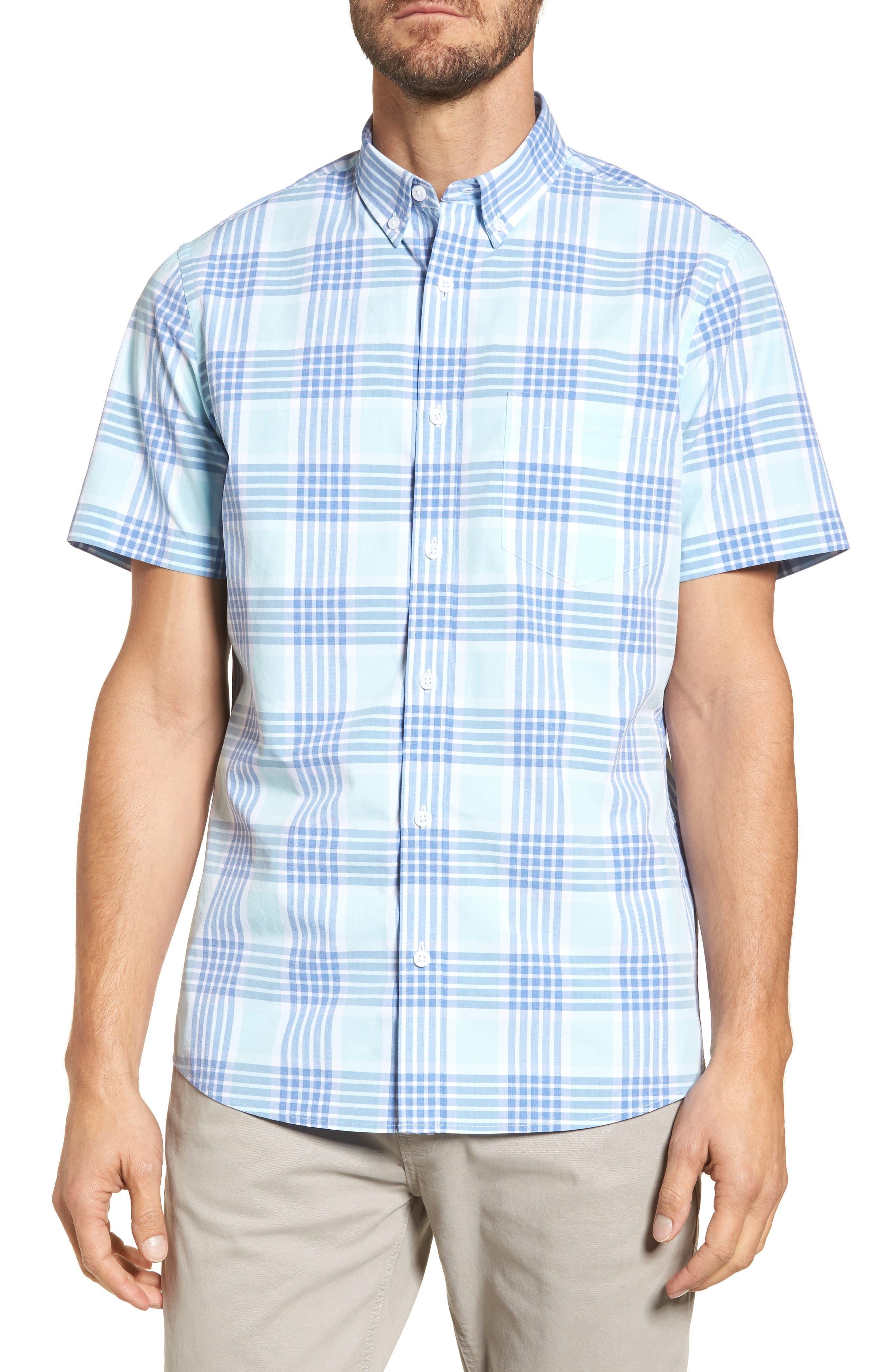 Trim Fit Washed Plaid Sport Shirt,                         Main,                         color, Blue Aquatic Plaid