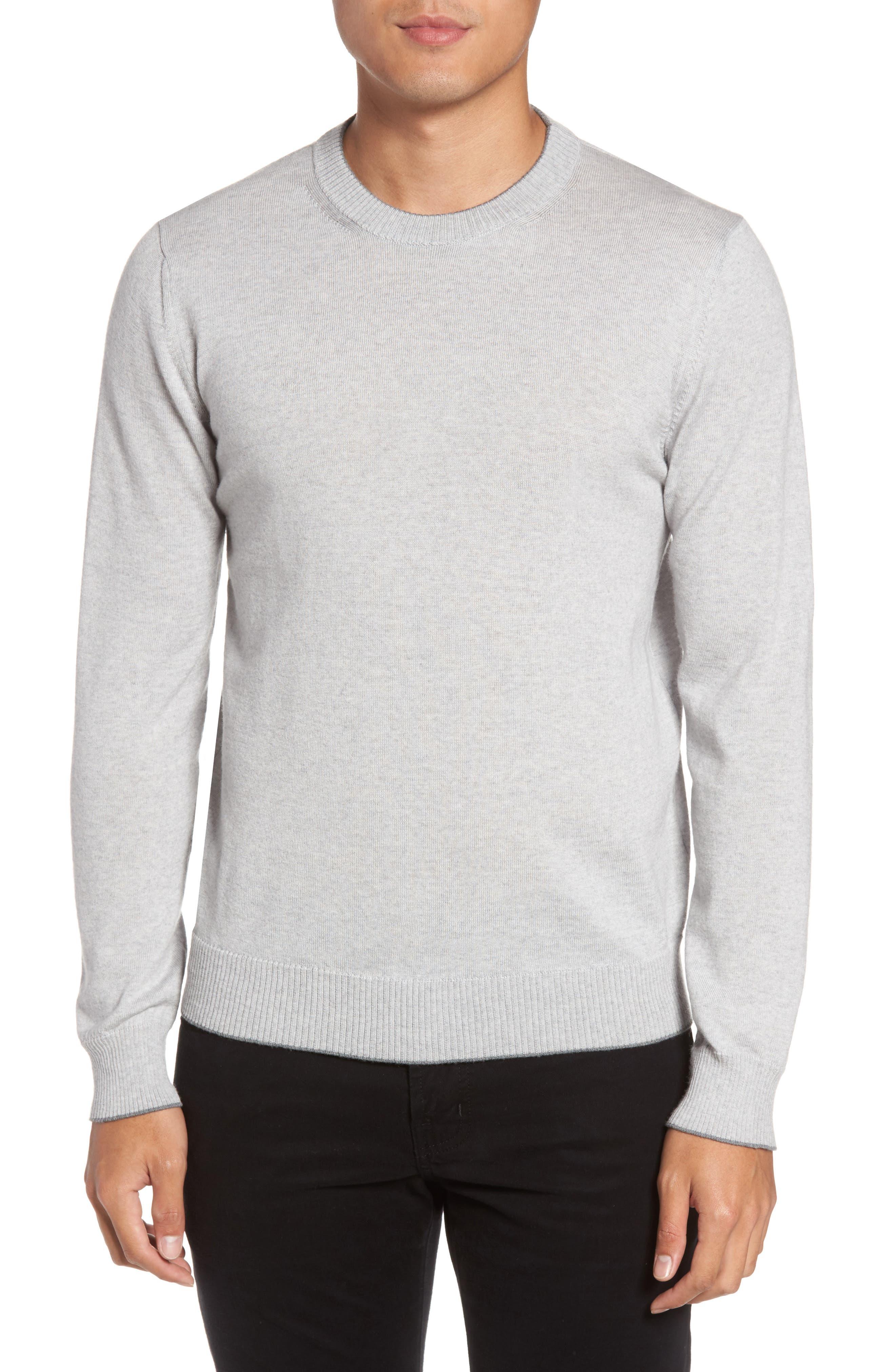 Virgin Wool Crewneck Sweater,                             Main thumbnail 1, color,                             Light Grey