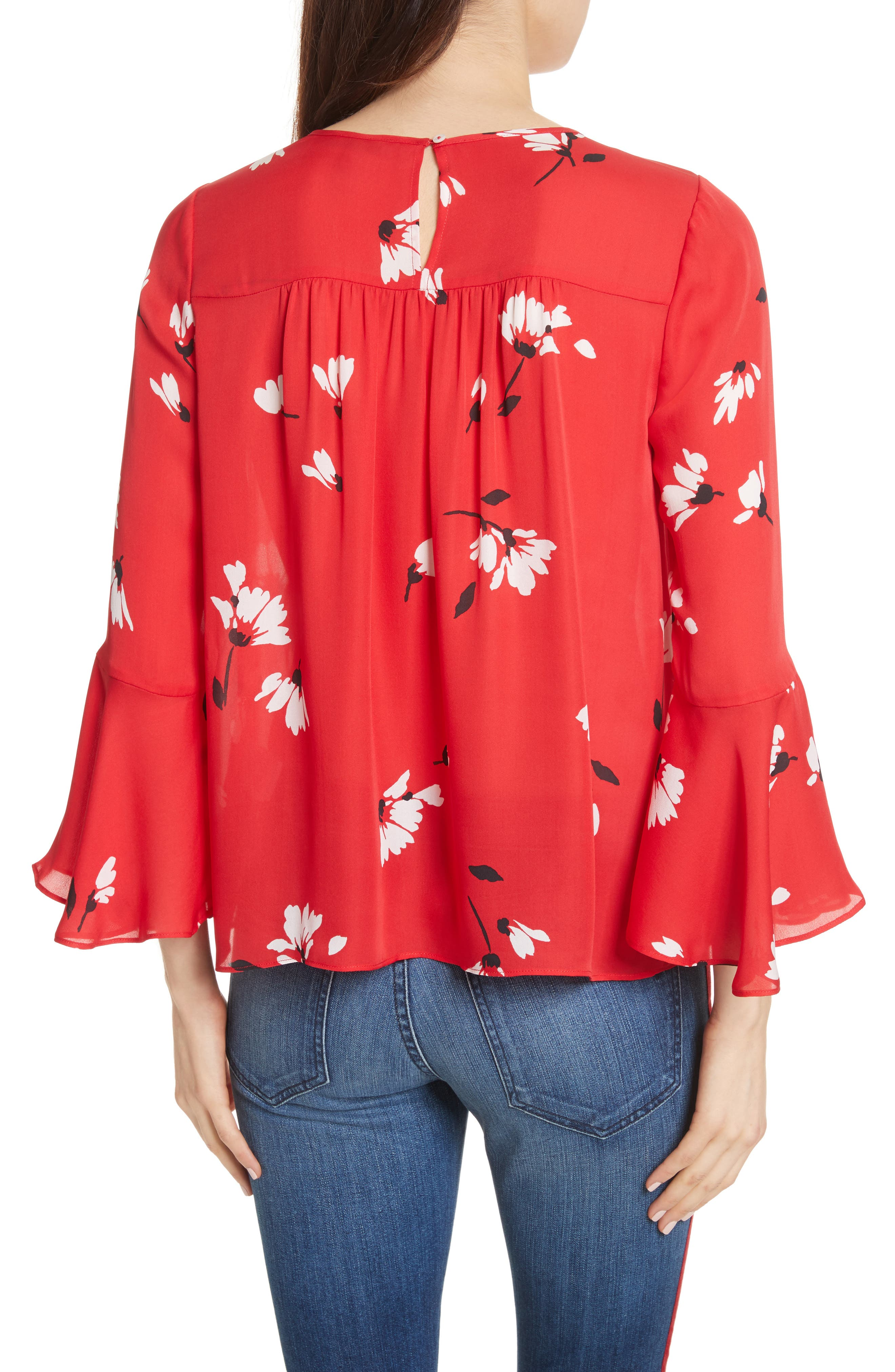 Awilda Bell Sleeve Silk Top,                             Alternate thumbnail 2, color,                             Alarm Red