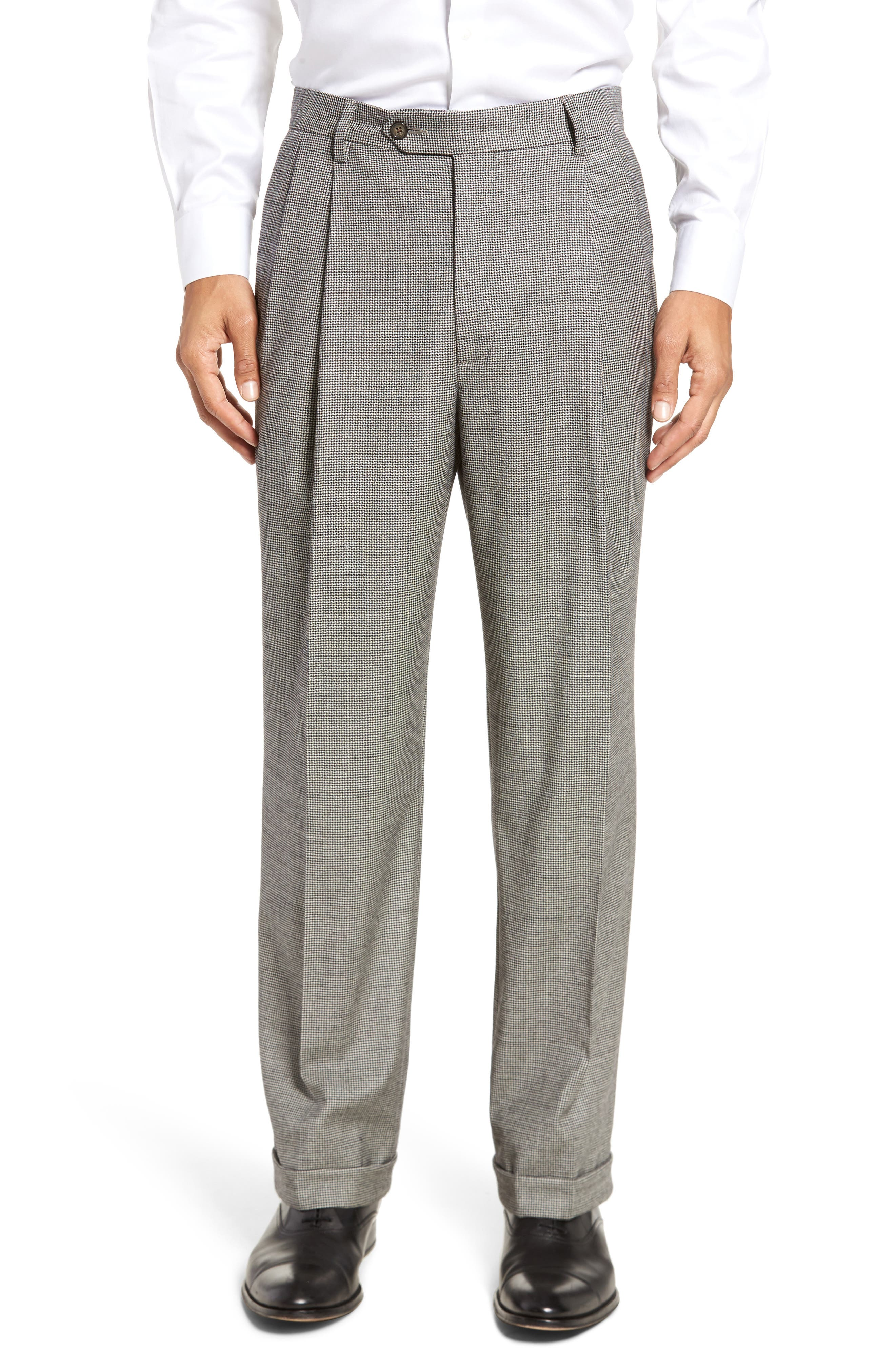 Pleated Stretch Houndstooth Wool Trousers,                         Main,                         color, Black/ White