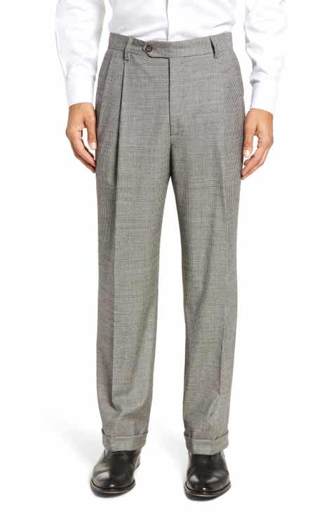 2ad09d469dc6 Berle Pleated Classic Fit Stretch Houndstooth Wool Trousers