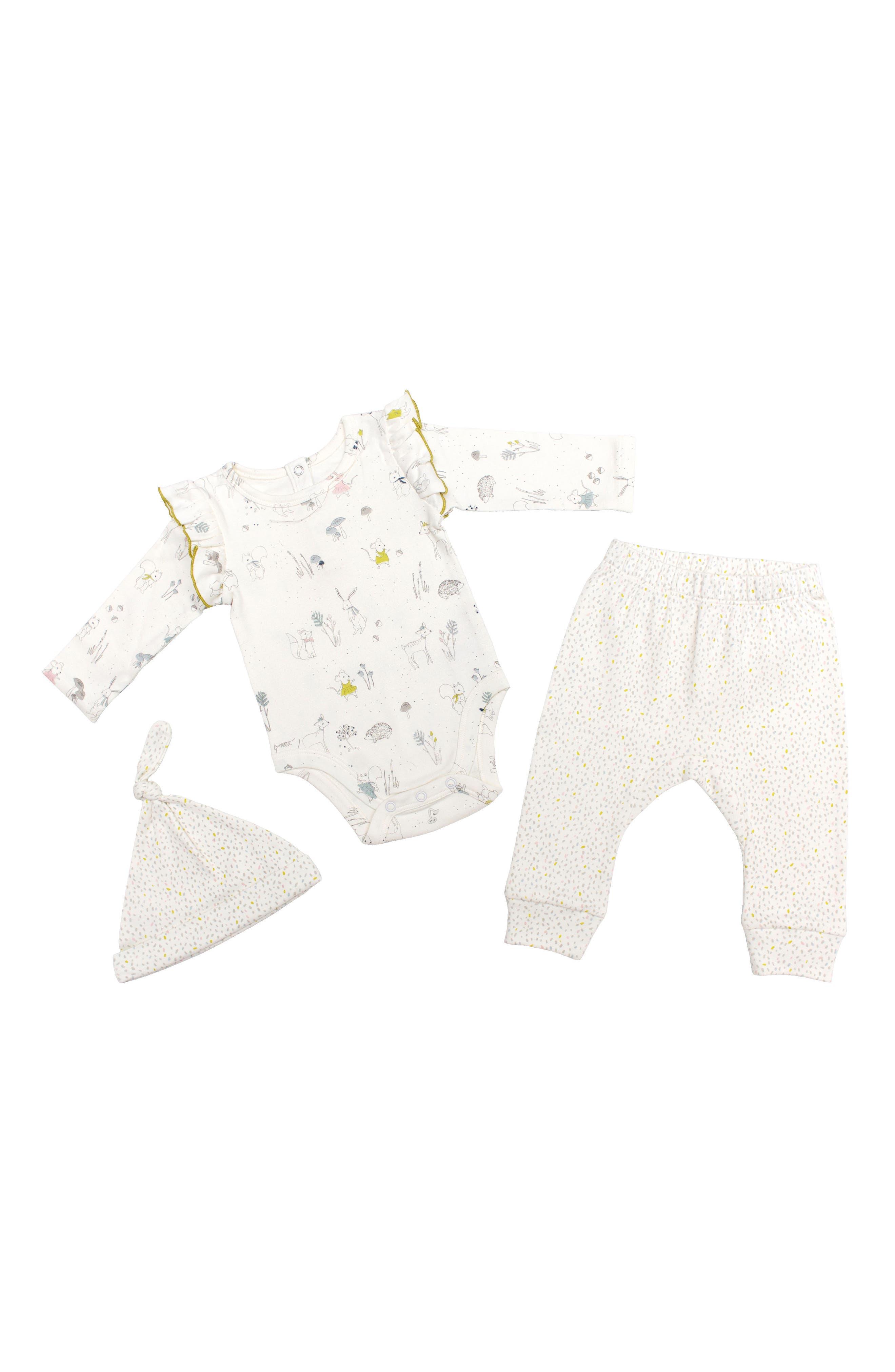 Petit Pehr Magical Forest Bodysuit, Pants & Hat Set (Baby Girls)