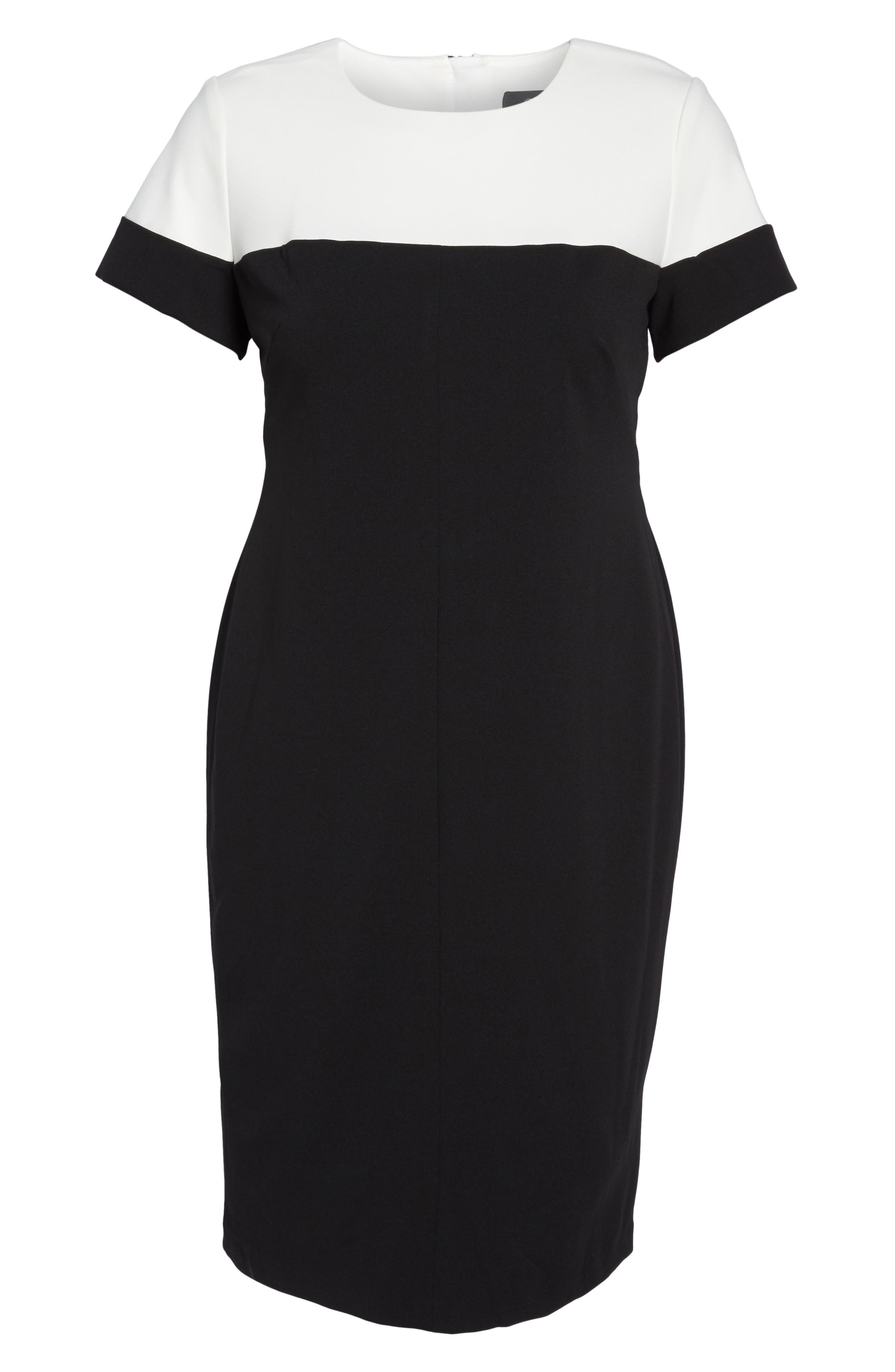 Stretch Crepe Sheath Dress,                             Alternate thumbnail 6, color,                             Black/ Ivory