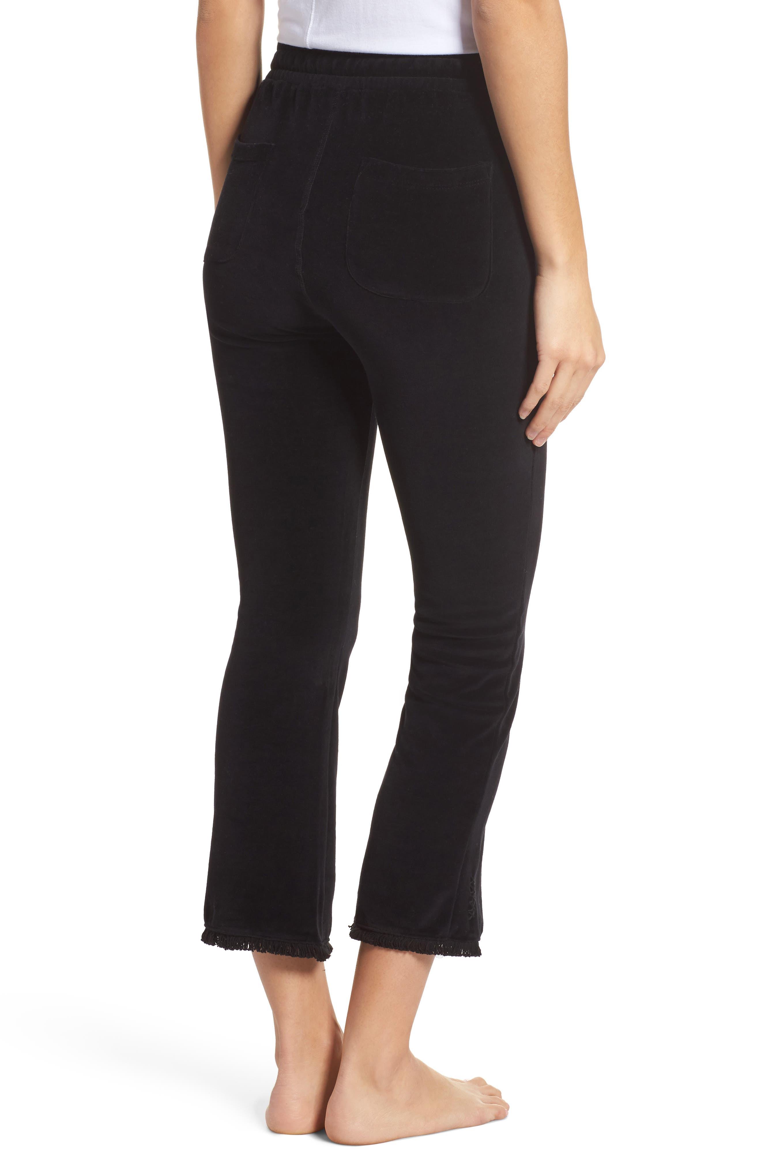Crop Velour Lounge Pants,                             Alternate thumbnail 2, color,                             Black
