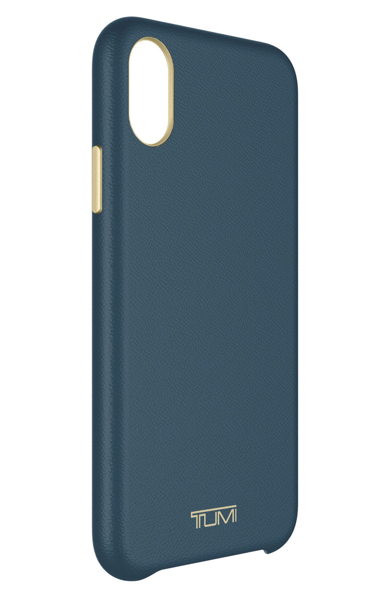Leather iPhone X Case,                             Alternate thumbnail 4, color,                             Navy