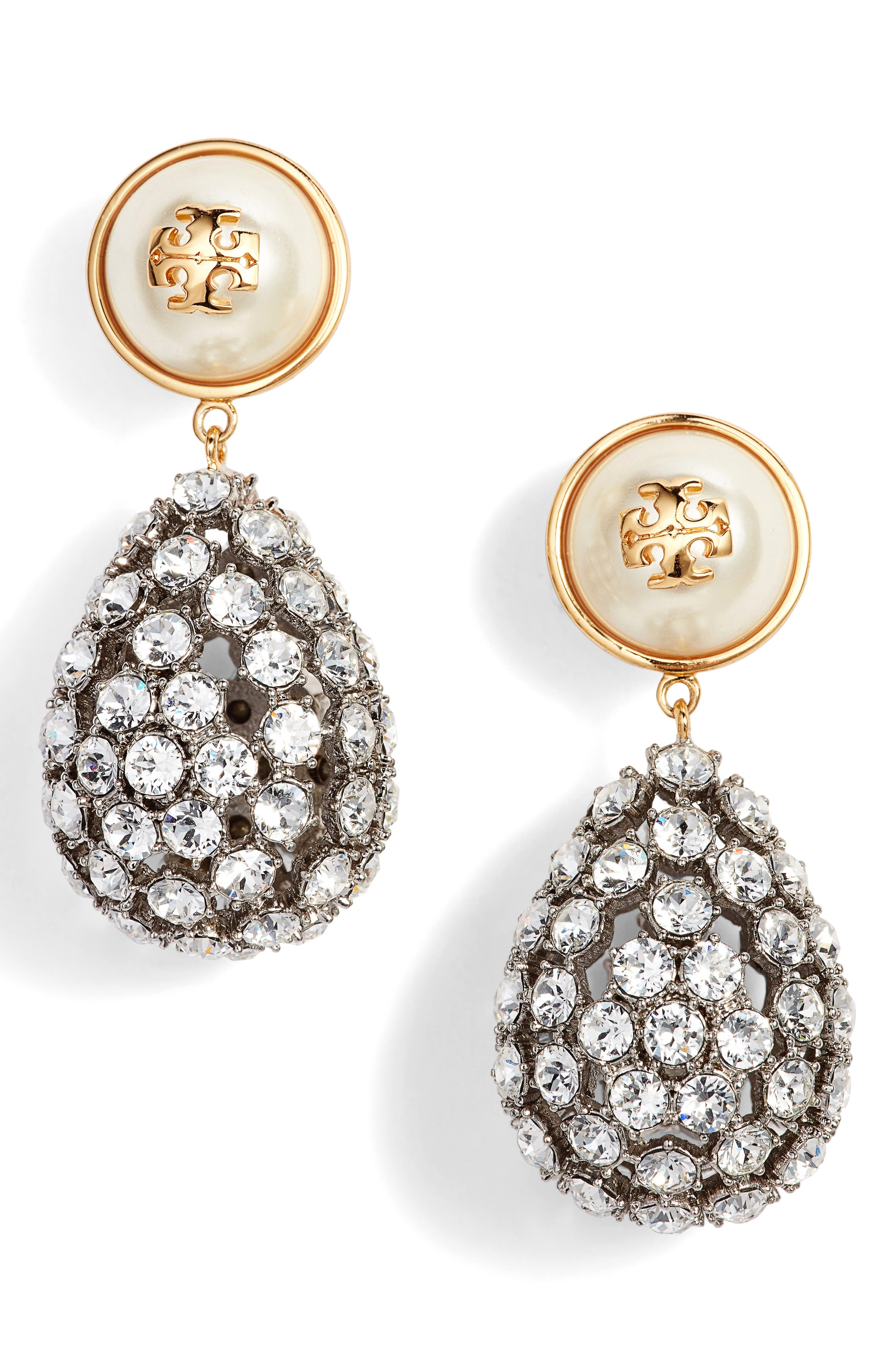 Imitation Pearl Statement Drop Earrings,                             Main thumbnail 1, color,                             Ivory/ Tory Gold