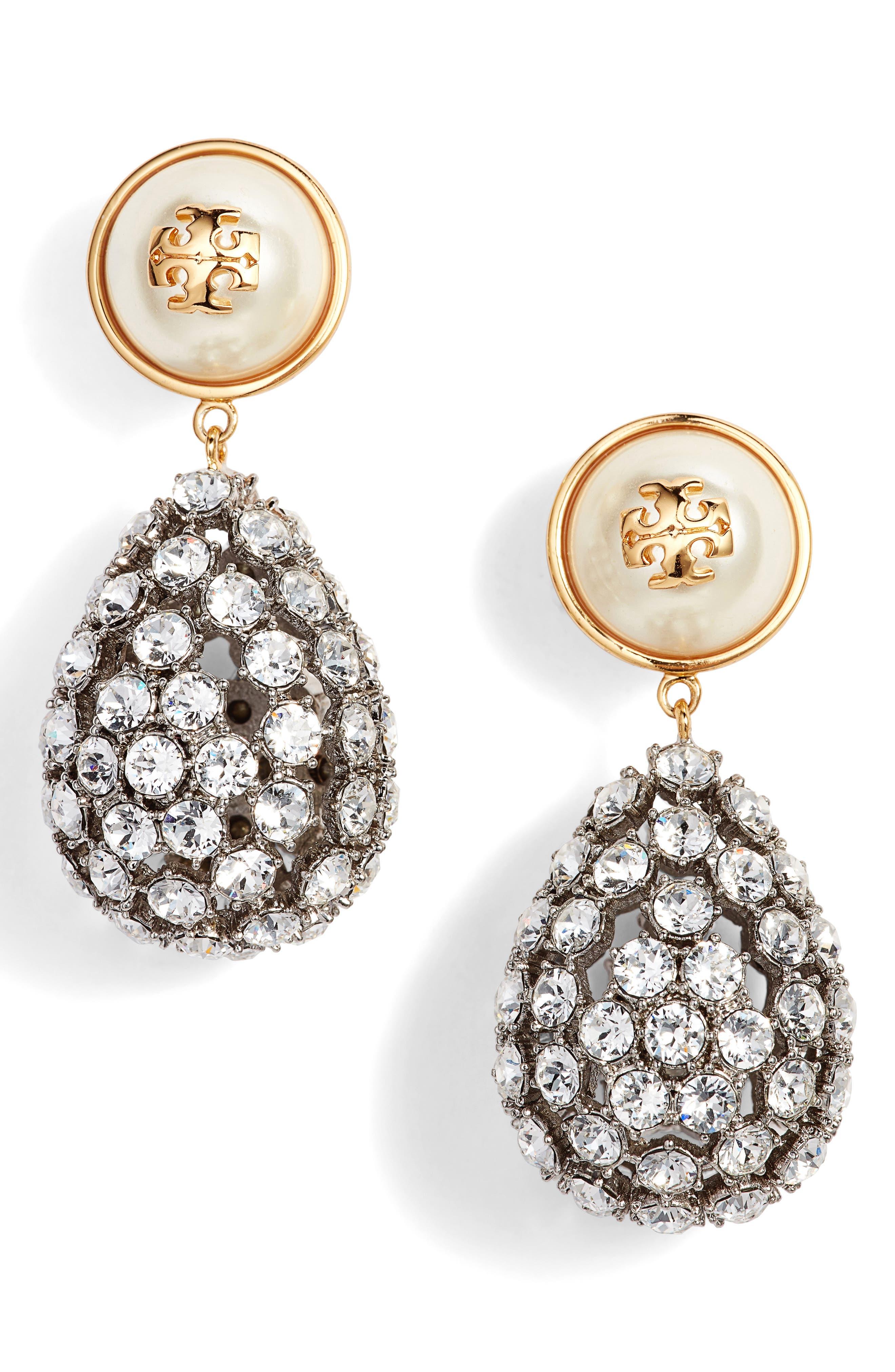 Main Image - Tory Burch Imitation Pearl Statement Drop Earrings