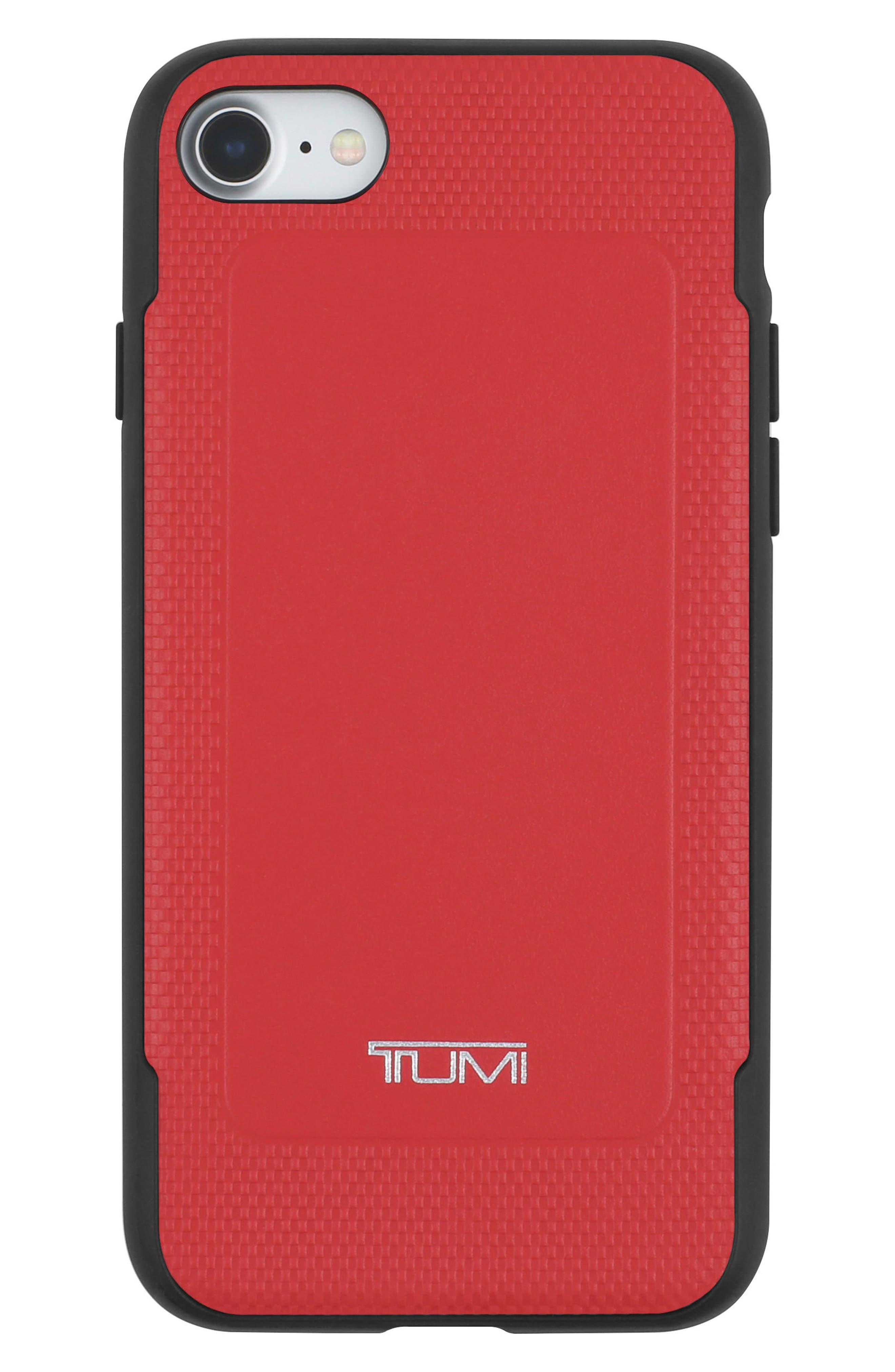 Leather iPhone 8 Case,                             Main thumbnail 1, color,                             Red