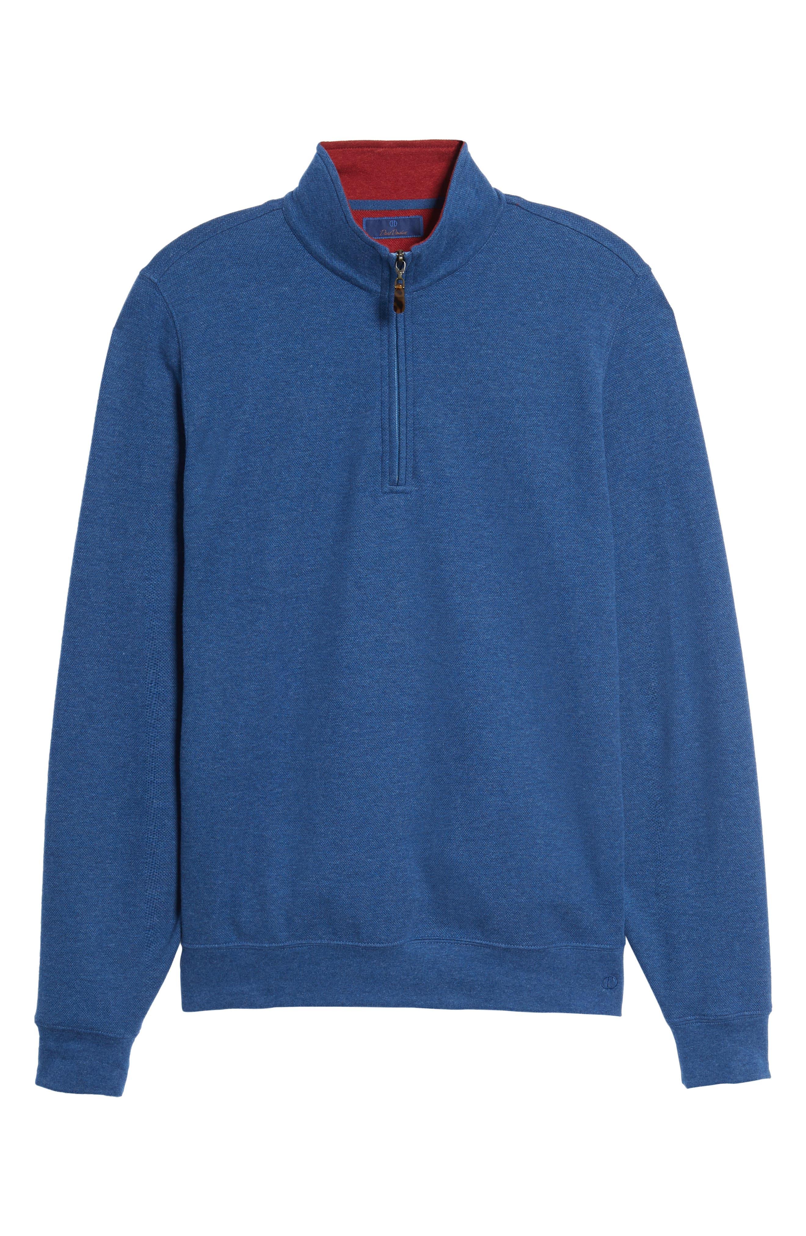 Mélange Quarter Zip Pullover,                             Alternate thumbnail 6, color,                             Blue