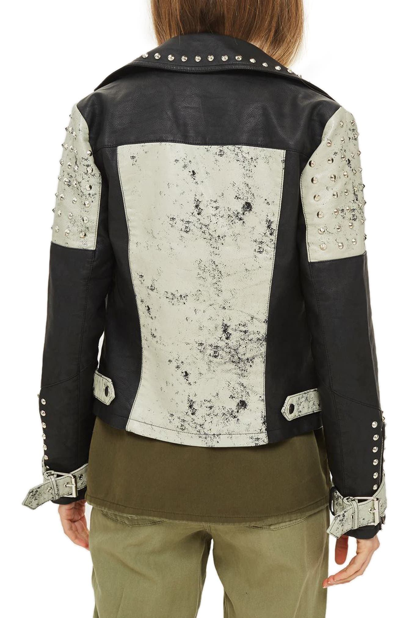 Maddox Painted & Studded Faux Leather Jacket,                             Alternate thumbnail 3, color,                             Black Multi
