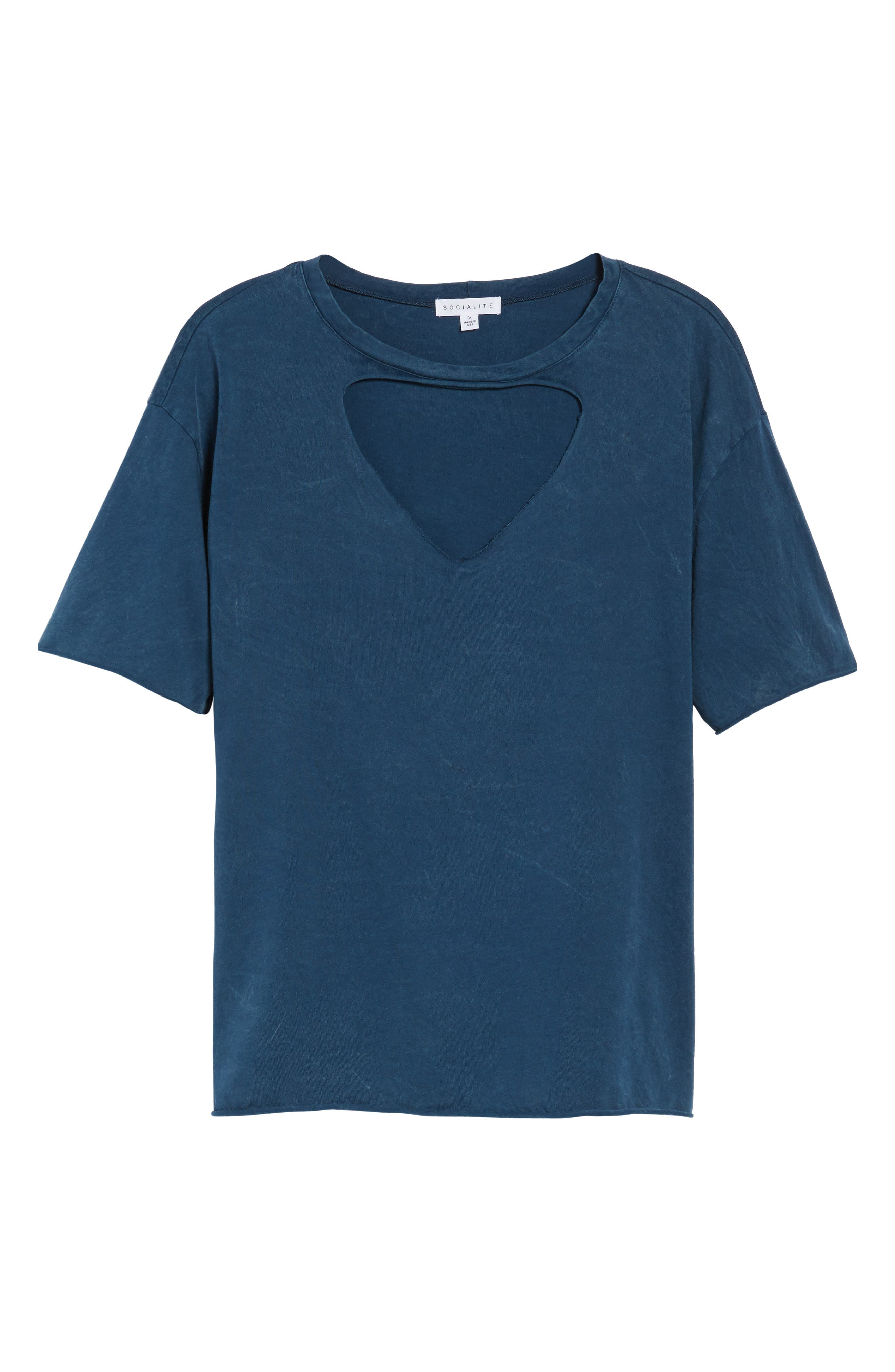 Front Cutout Tee,                             Alternate thumbnail 6, color,                             Teal