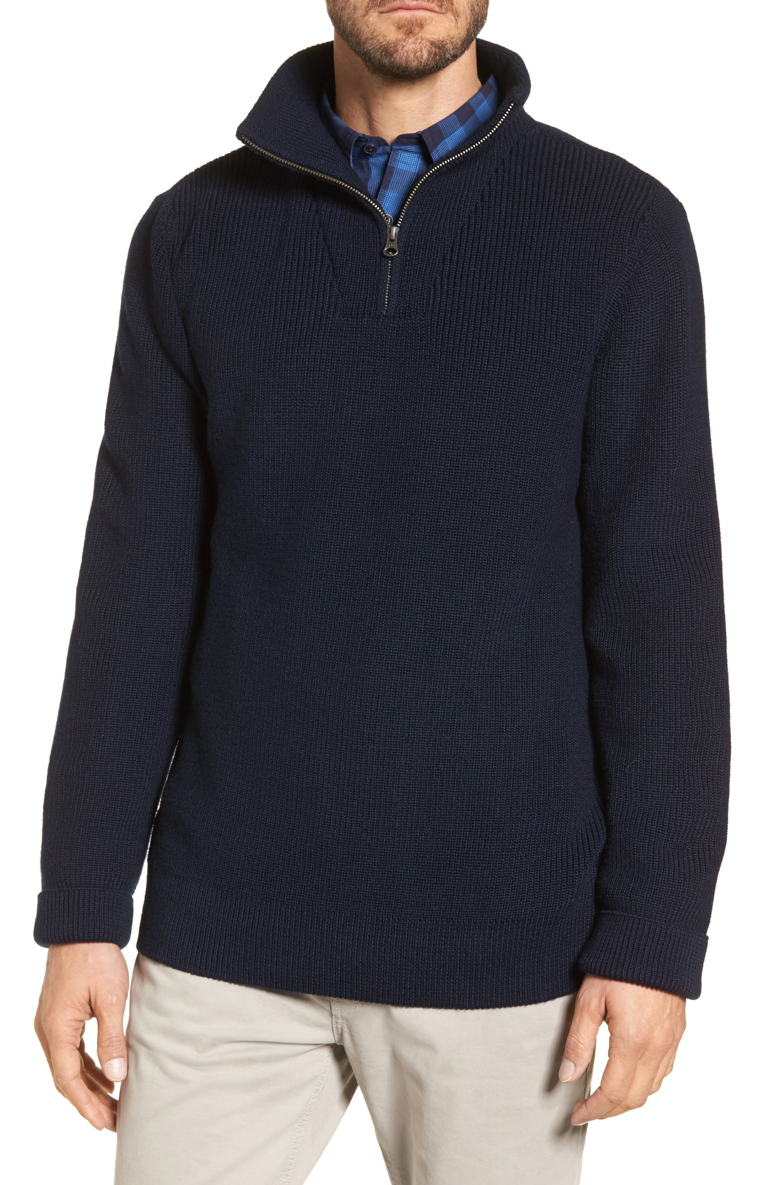 Ribbed Quarter Zip Sweater,                         Main,                         color, Navy Captain