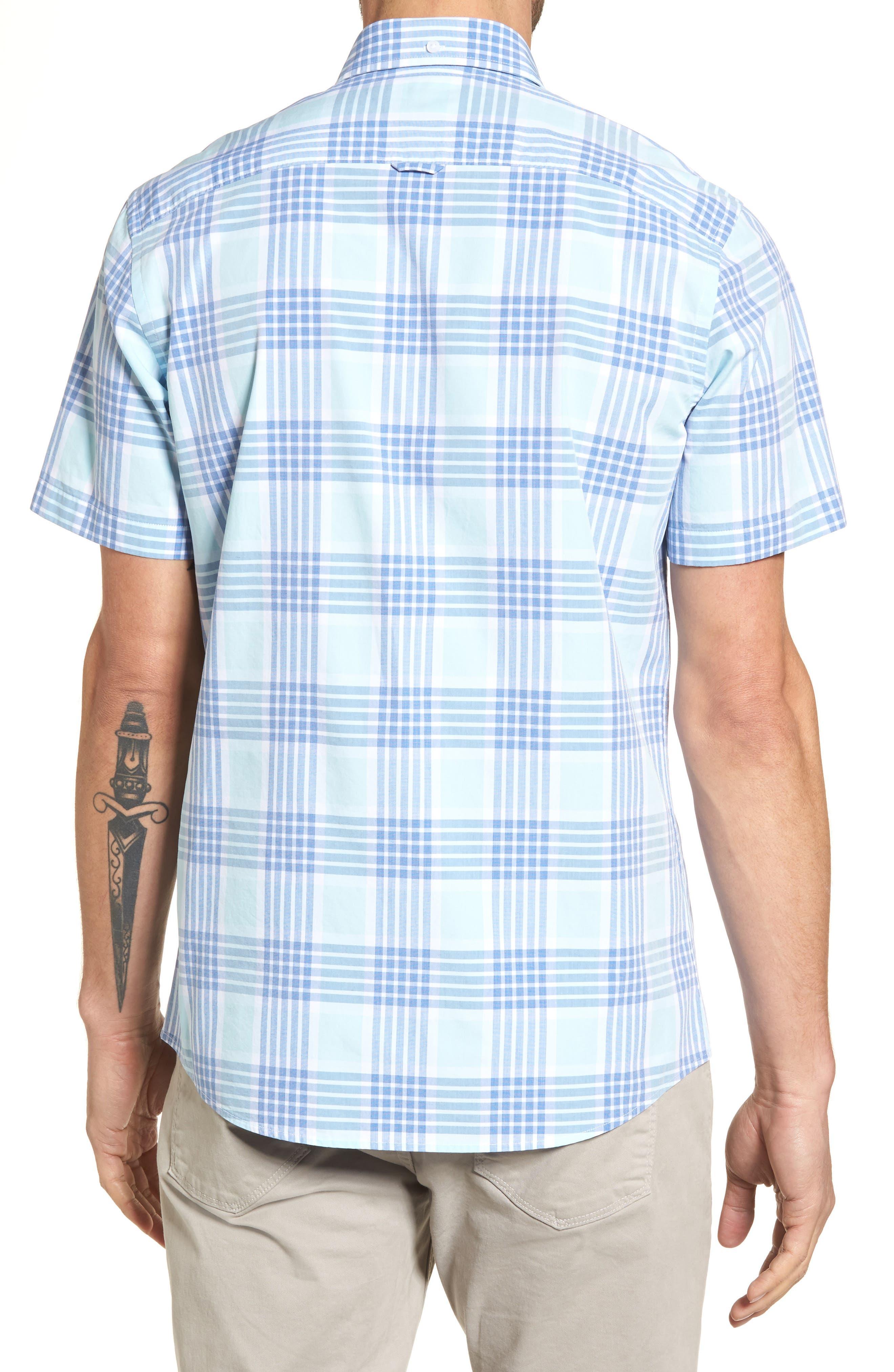 Trim Fit Washed Plaid Sport Shirt,                             Alternate thumbnail 3, color,                             Blue Aquatic Plaid