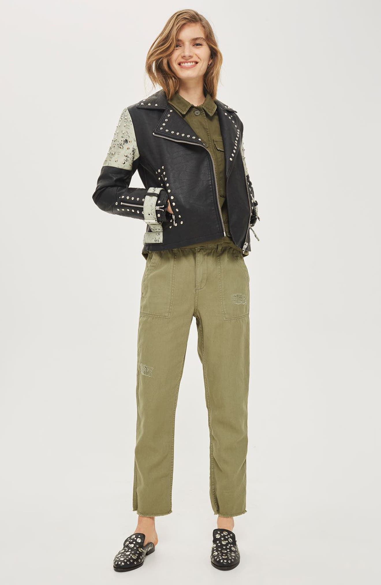 Maddox Painted & Studded Faux Leather Jacket,                             Alternate thumbnail 2, color,                             Black Multi