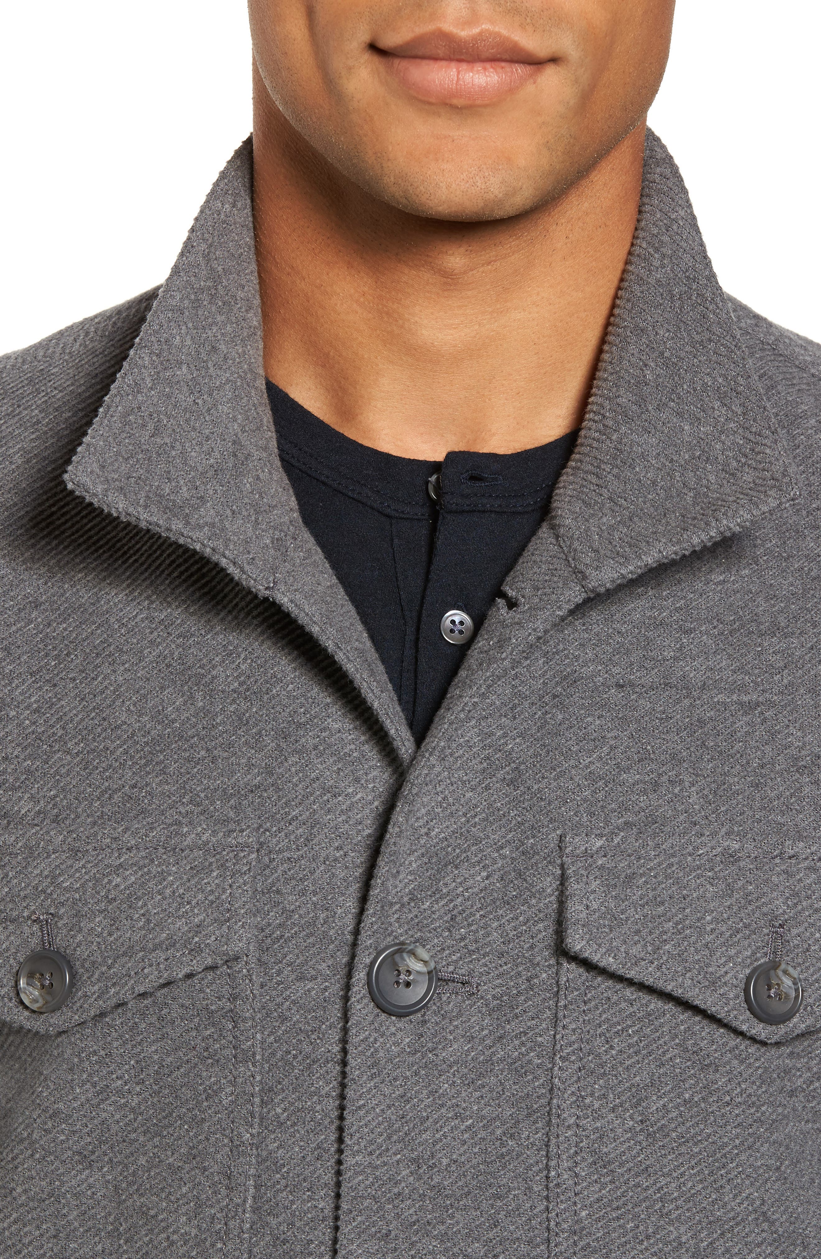Drill Button Front Knit Jacket,                             Alternate thumbnail 4, color,                             Heather Charcoal