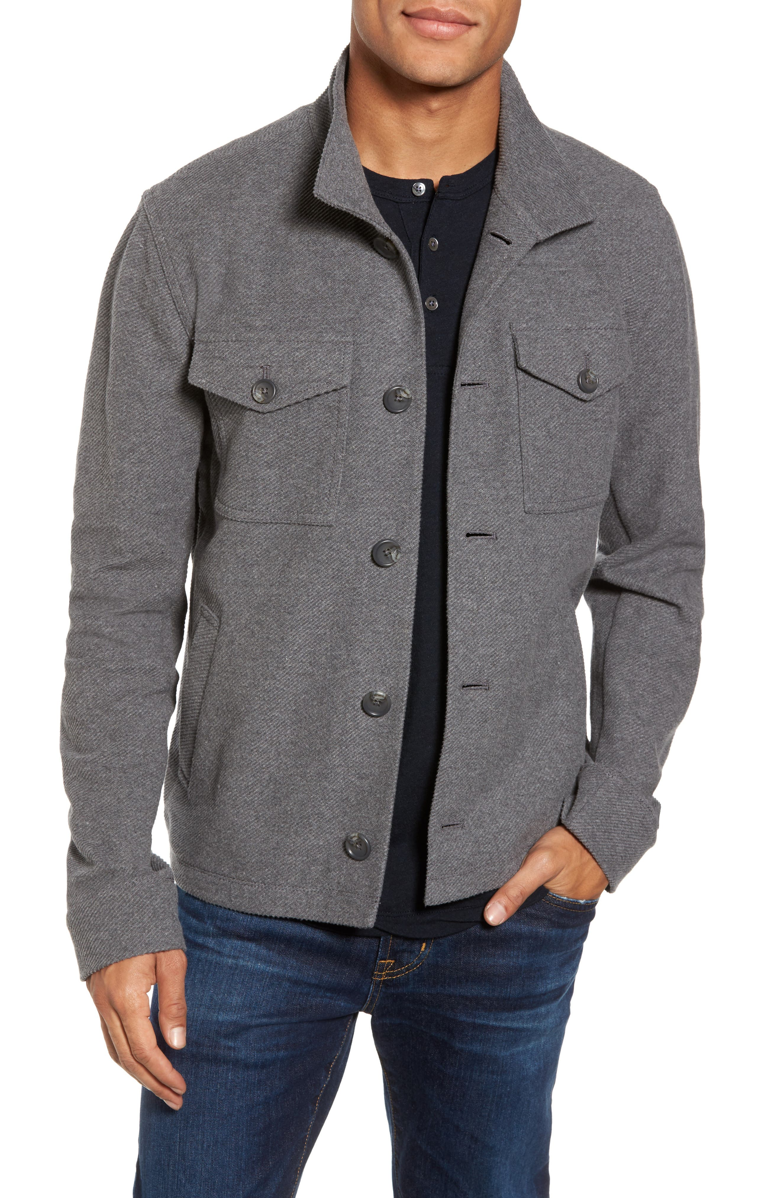 Drill Button Front Knit Jacket,                             Main thumbnail 1, color,                             Heather Charcoal