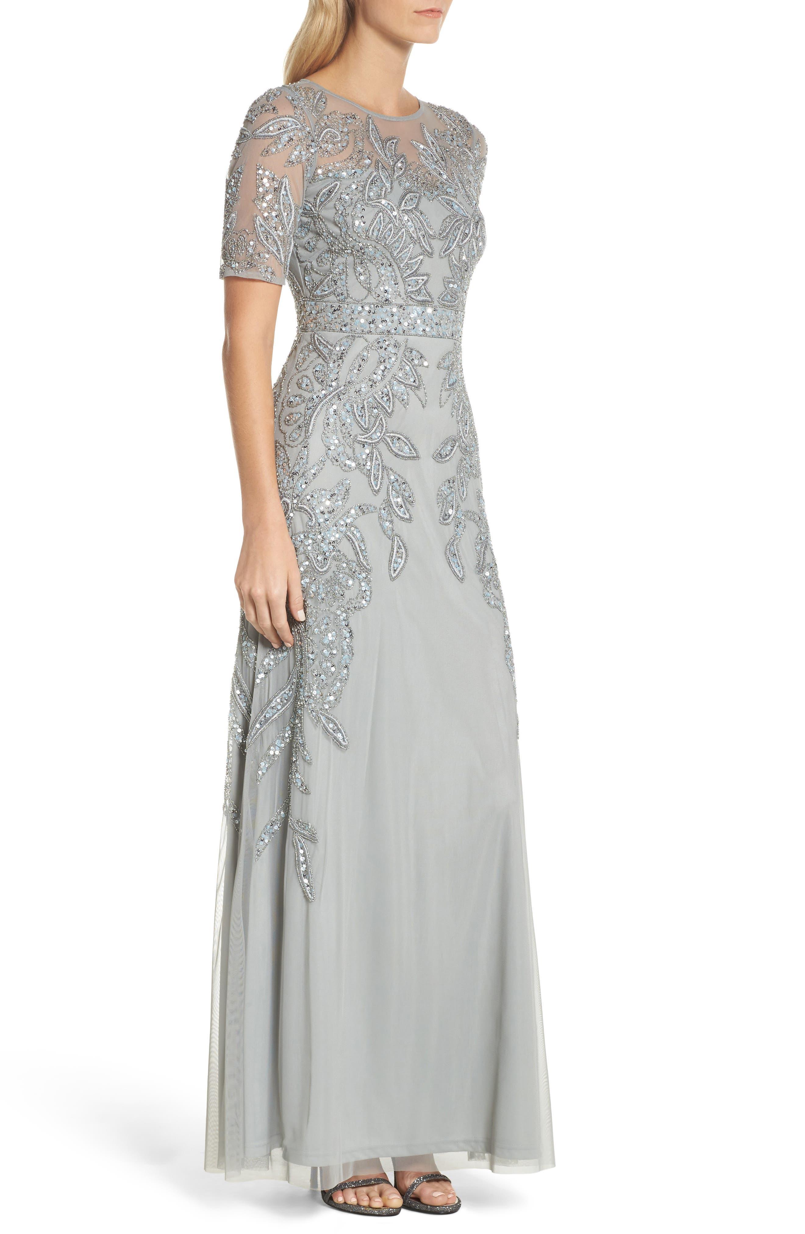 Embellished Mesh Gown,                             Alternate thumbnail 3, color,                             Blue Mist