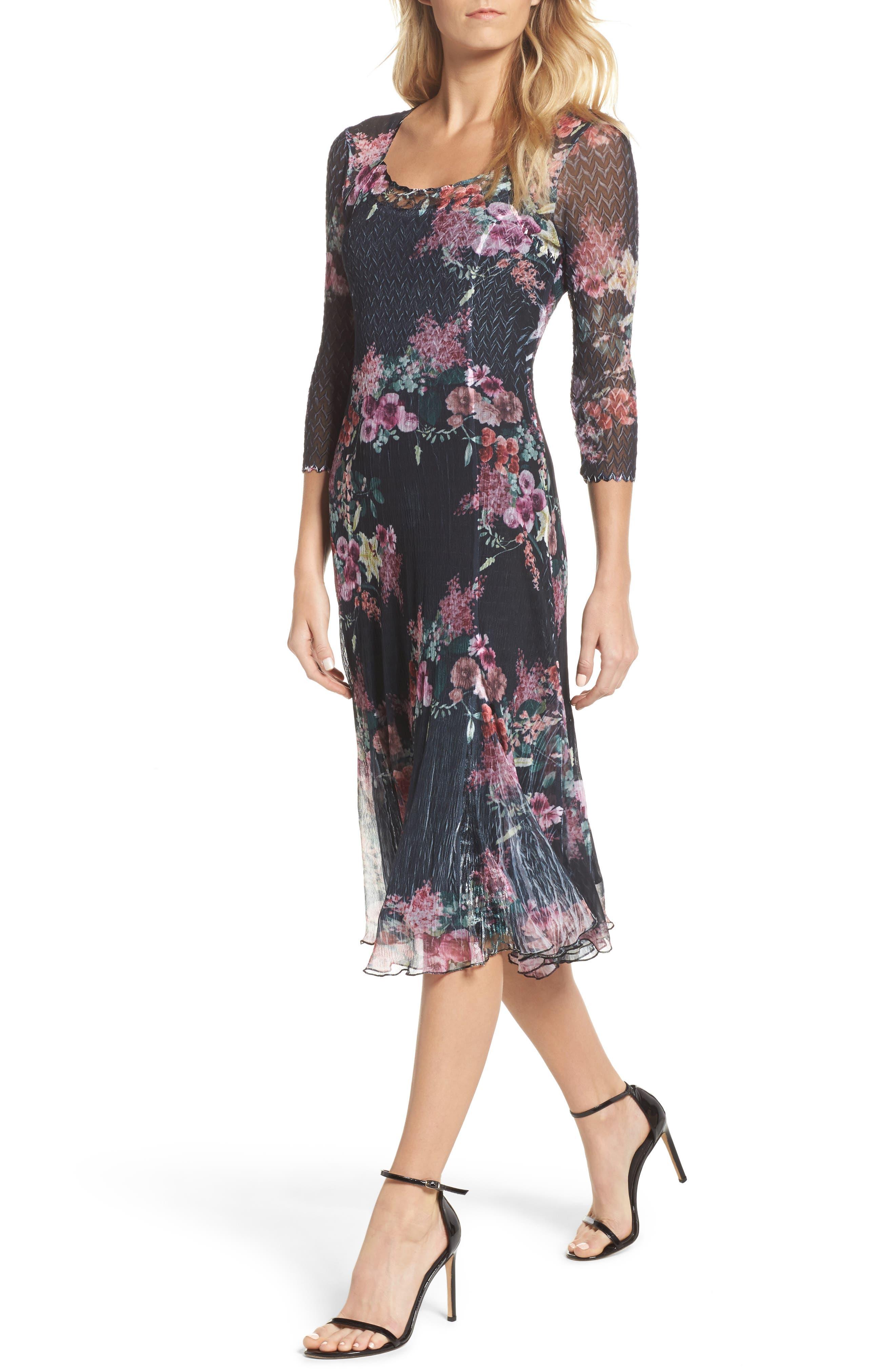 Floral A-Line Dress,                             Main thumbnail 1, color,                             Evening Garden