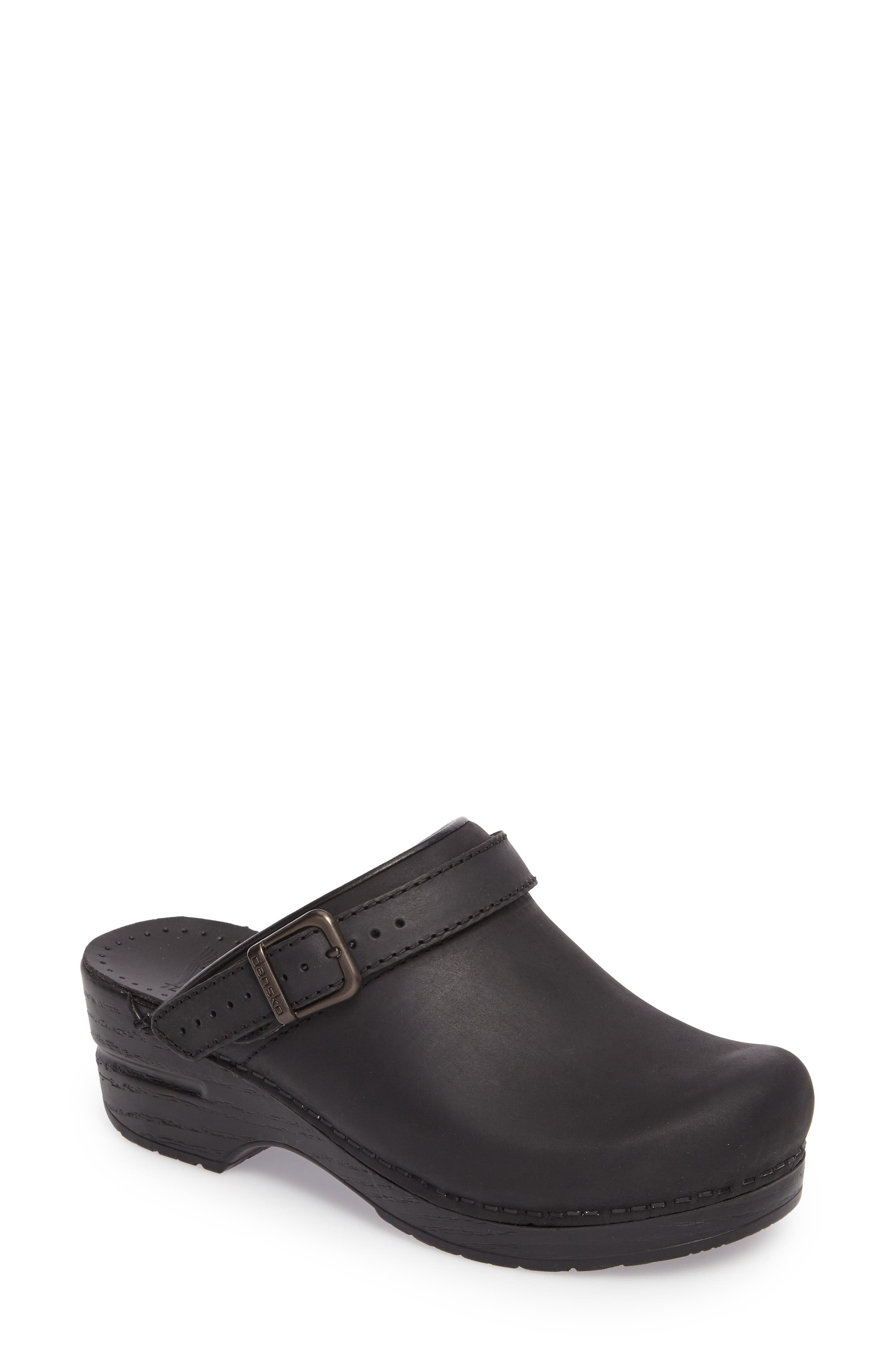 Ingrid Clog,                             Main thumbnail 1, color,                             Black Oiled Leather
