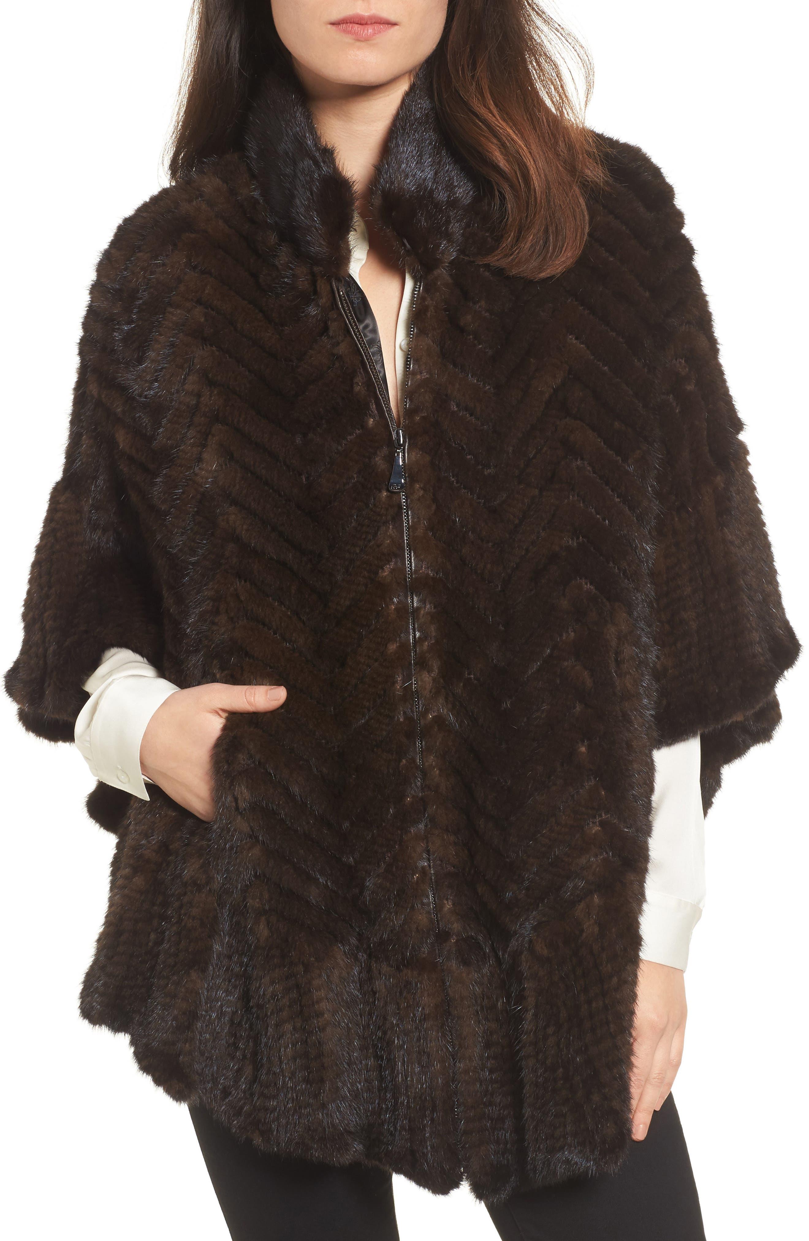 Belle Fare Genuine Mink Fur Poncho