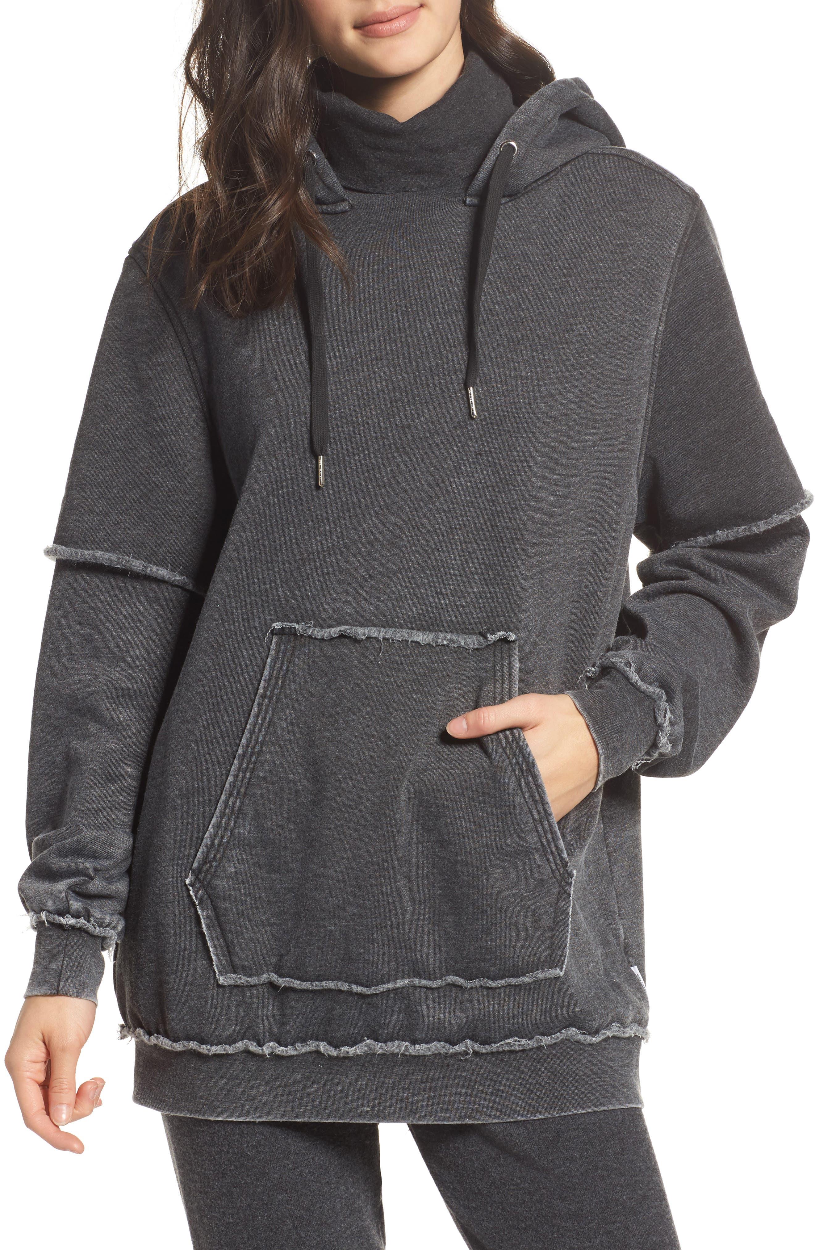 Good Hood Sweatshirt Dress,                         Main,                         color, Coal
