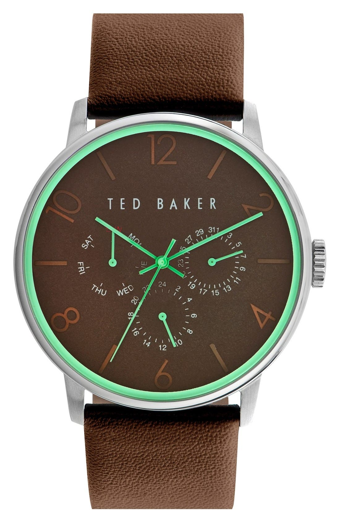 Multifunction Leather Strap Watch, 42mm,                         Main,                         color, Brown/ Green