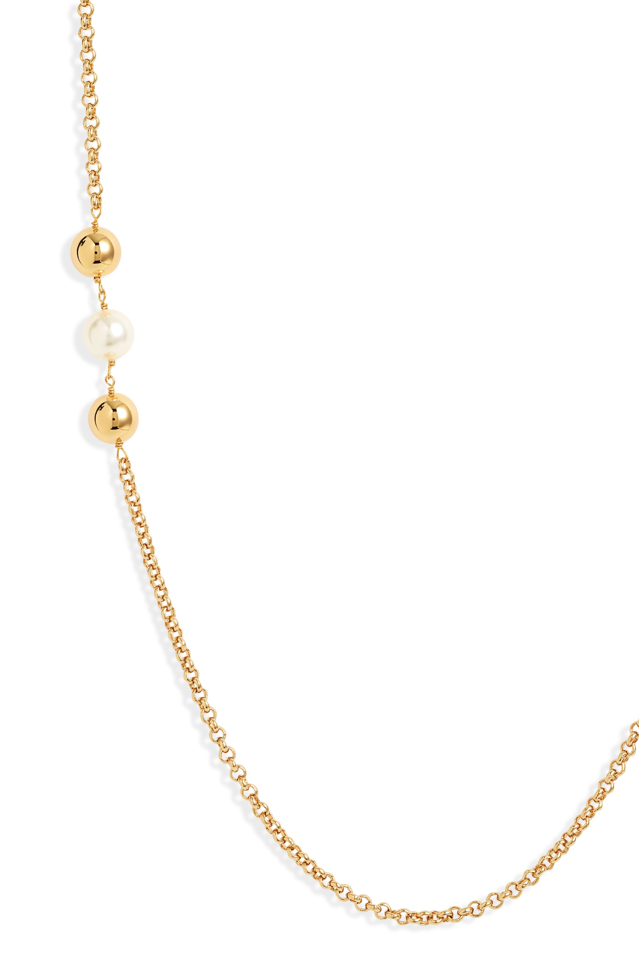 TORY BURCH CAPPED CRYSTAL PEARL CHAIN ROSARY IN METALLIC COATED BRASS - JEWELRY US, IVORY