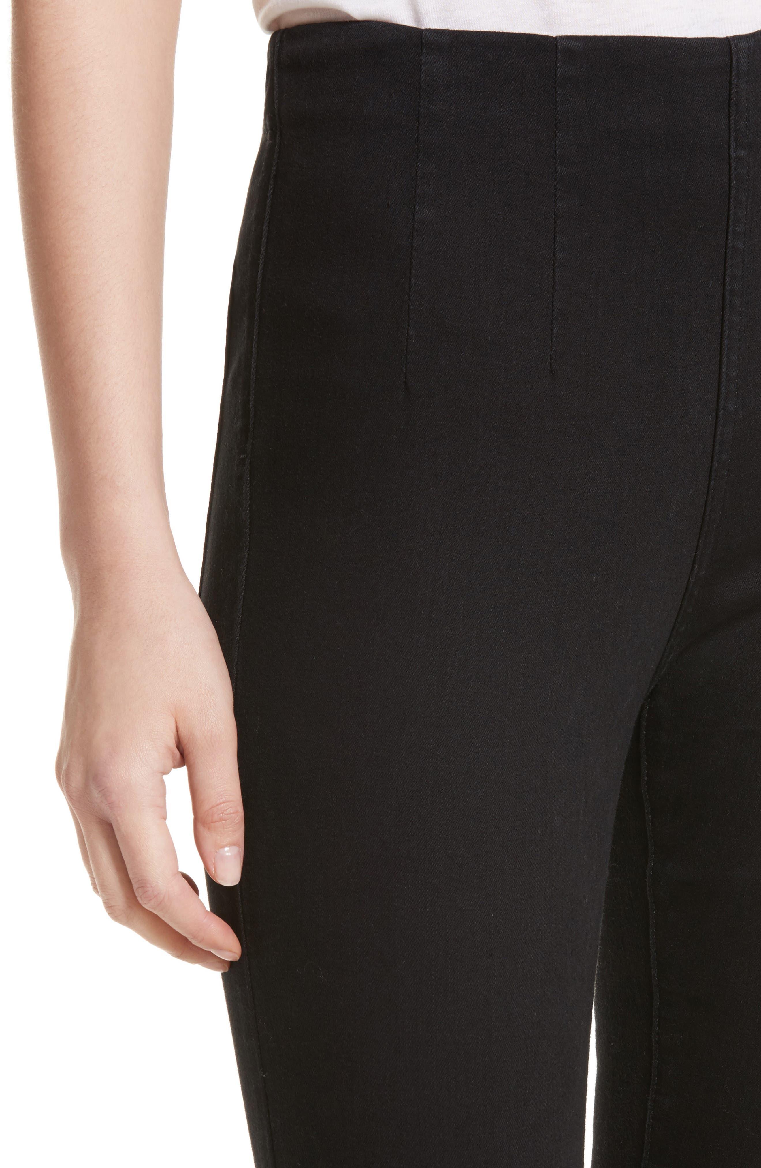 High Waist Ankle Skinny Pants,                             Alternate thumbnail 4, color,                             Black