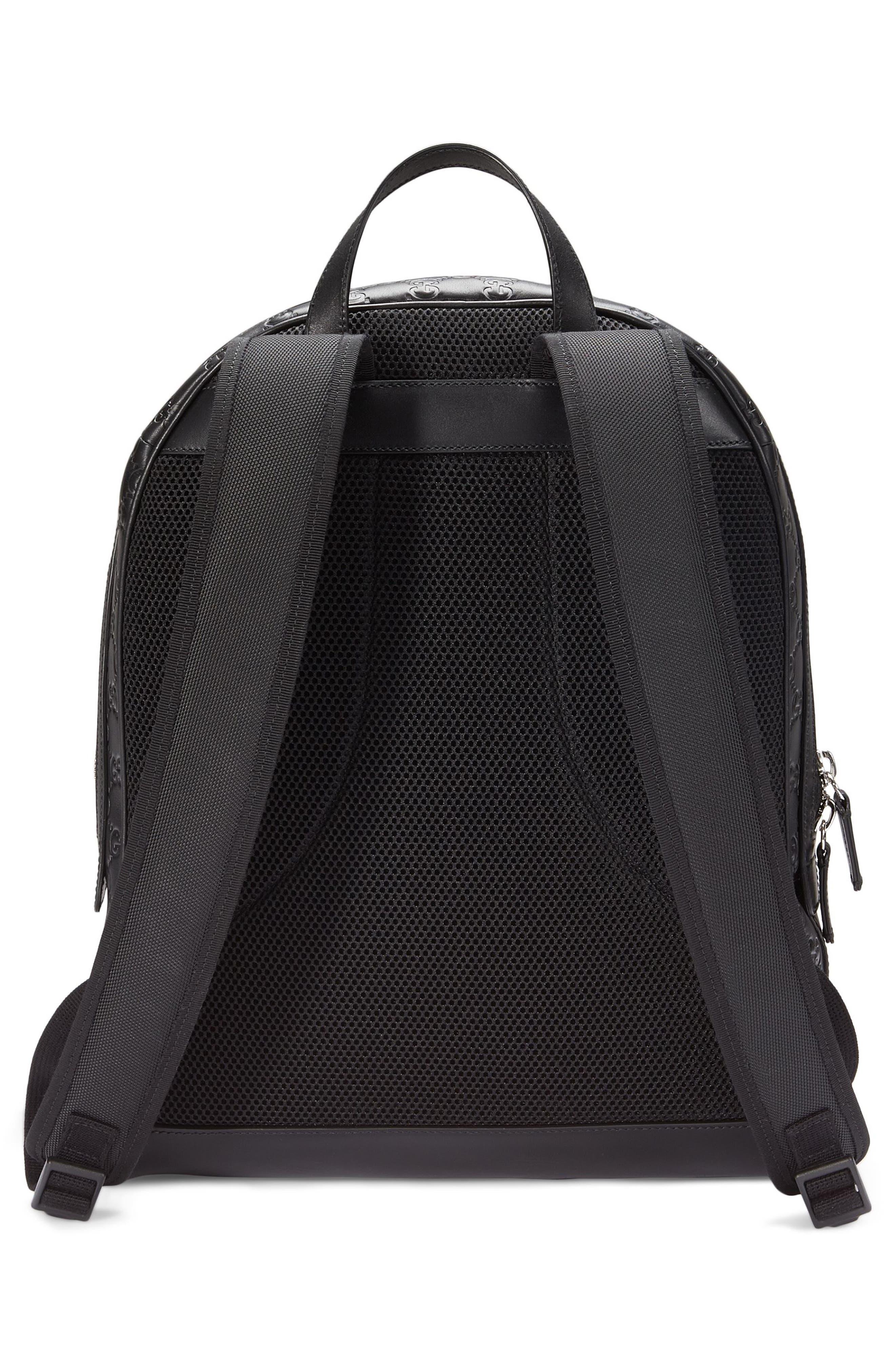 Embossed Leather Backpack,                             Alternate thumbnail 2, color,                             Black