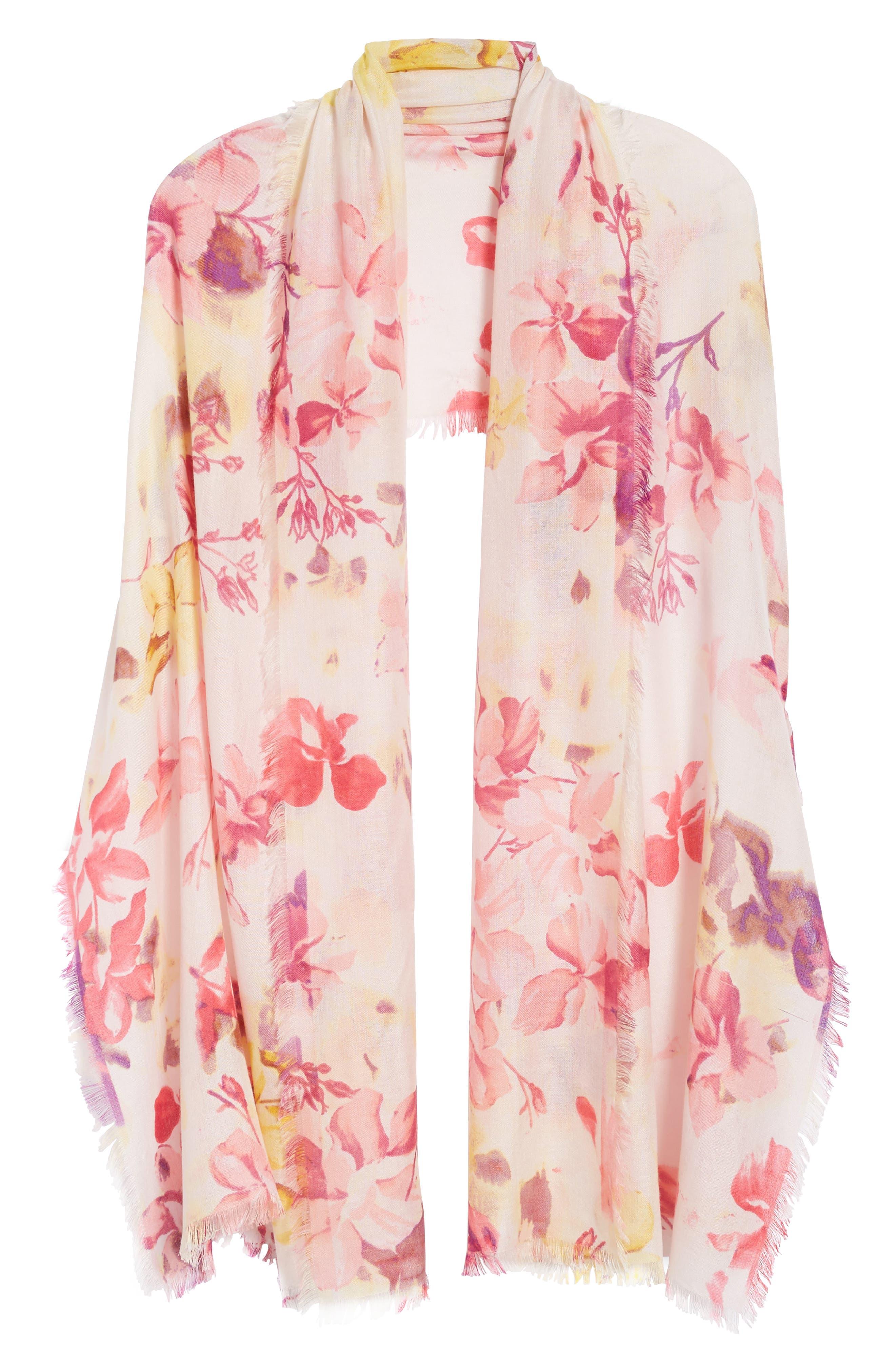 Eyelash Trim Print Cashmere & Silk Wrap,                             Alternate thumbnail 5, color,                             Pink Frosted Petals