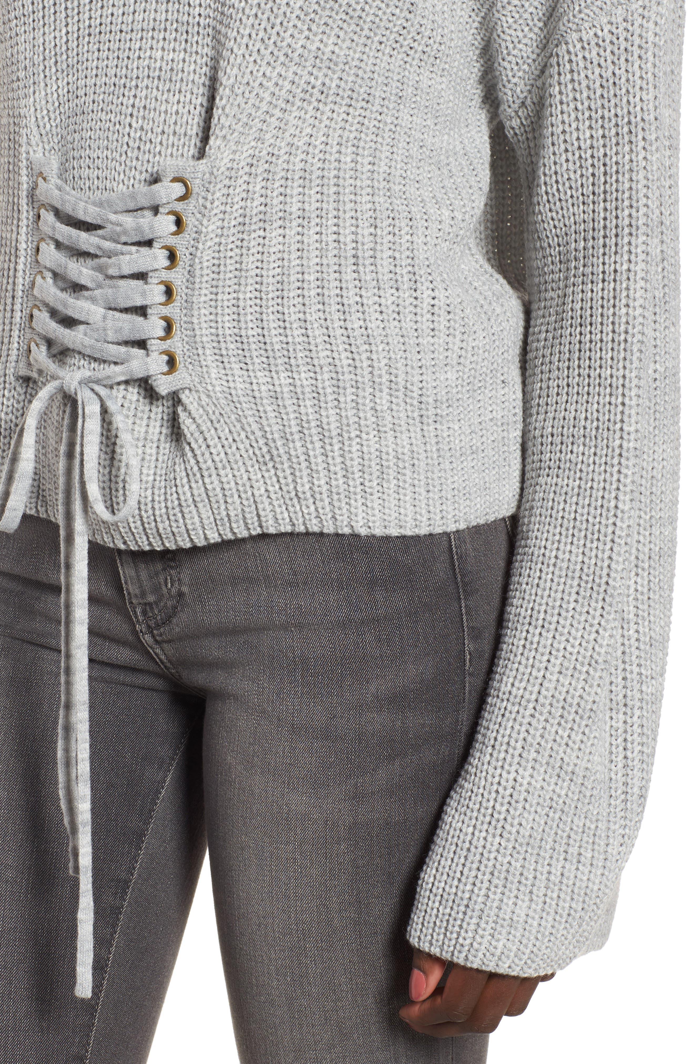 Corset Sweater,                             Alternate thumbnail 4, color,                             Grey