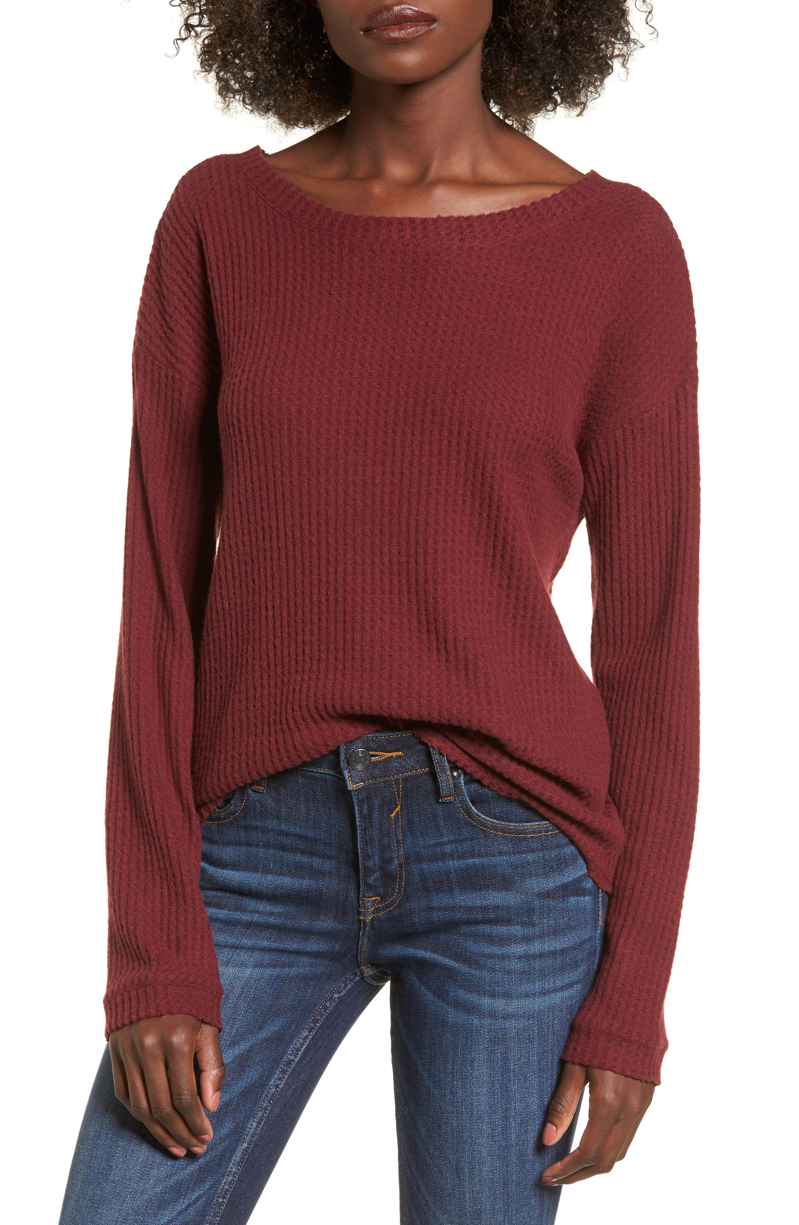 Waffle Knit Top,                         Main,                         color, Red Cordov