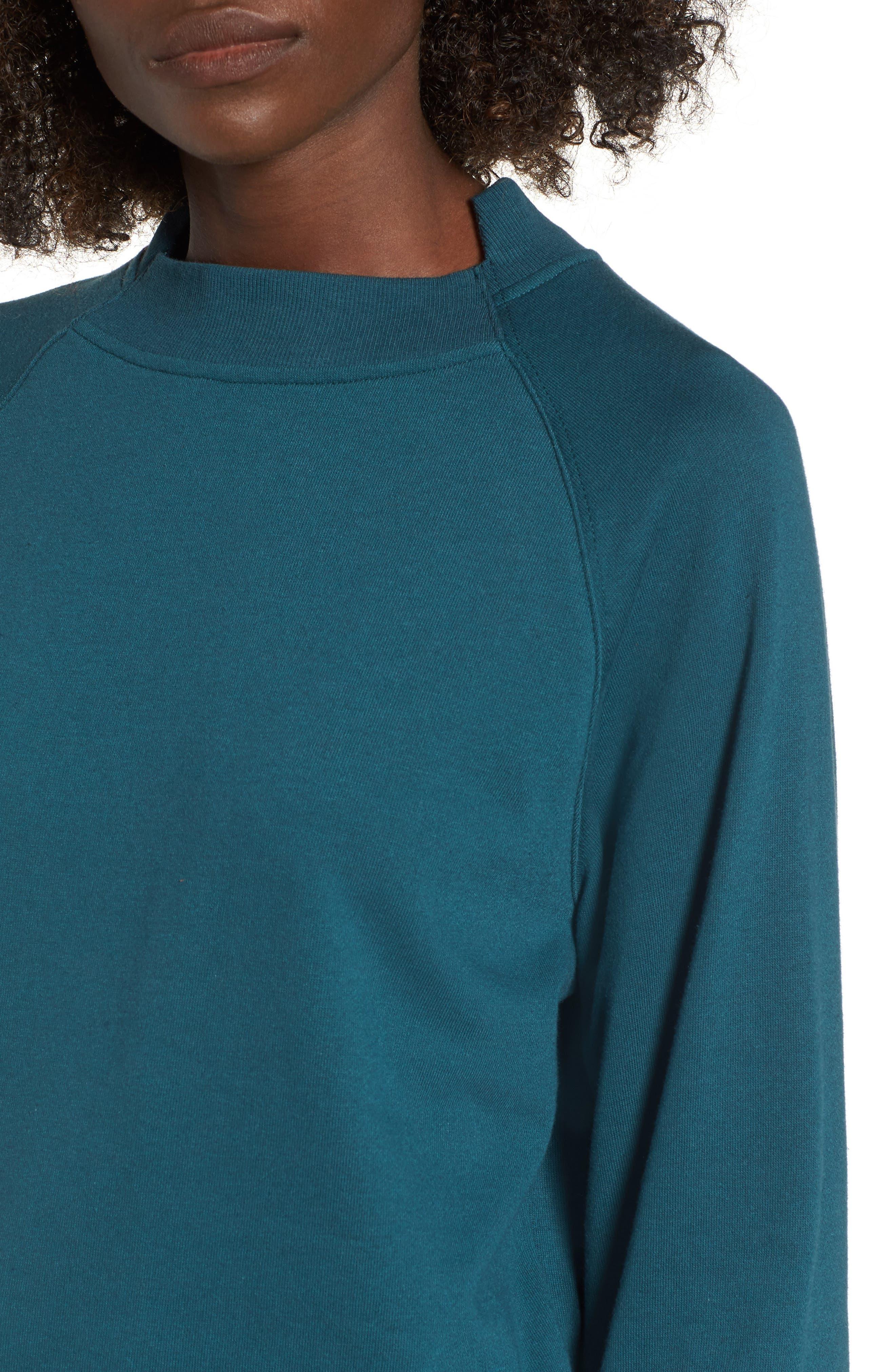Cinched Sleeve Sweatshirt,                             Alternate thumbnail 4, color,                             Teal