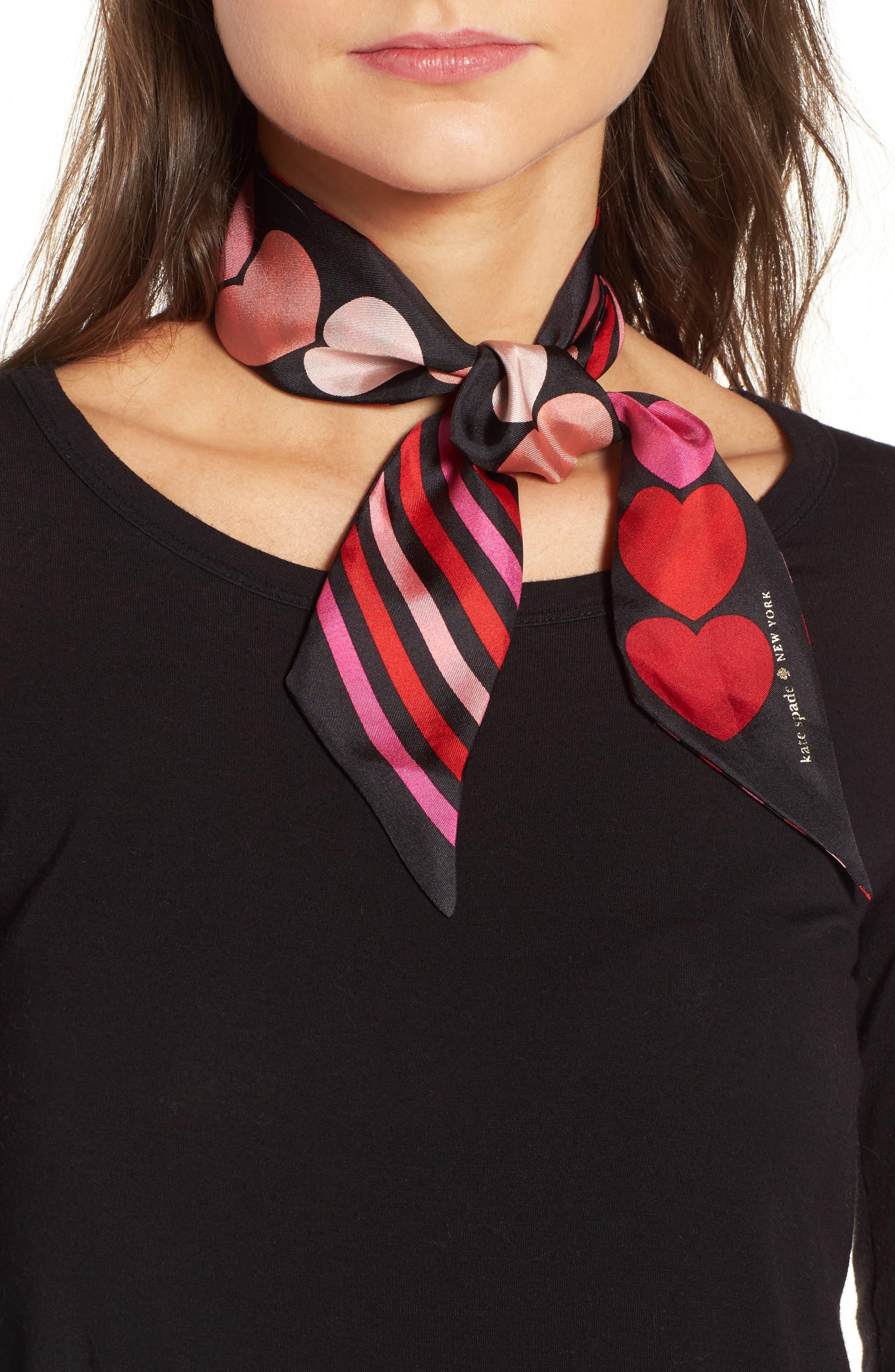 heart stripe silk skinny scarf,                         Main,                         color, Black