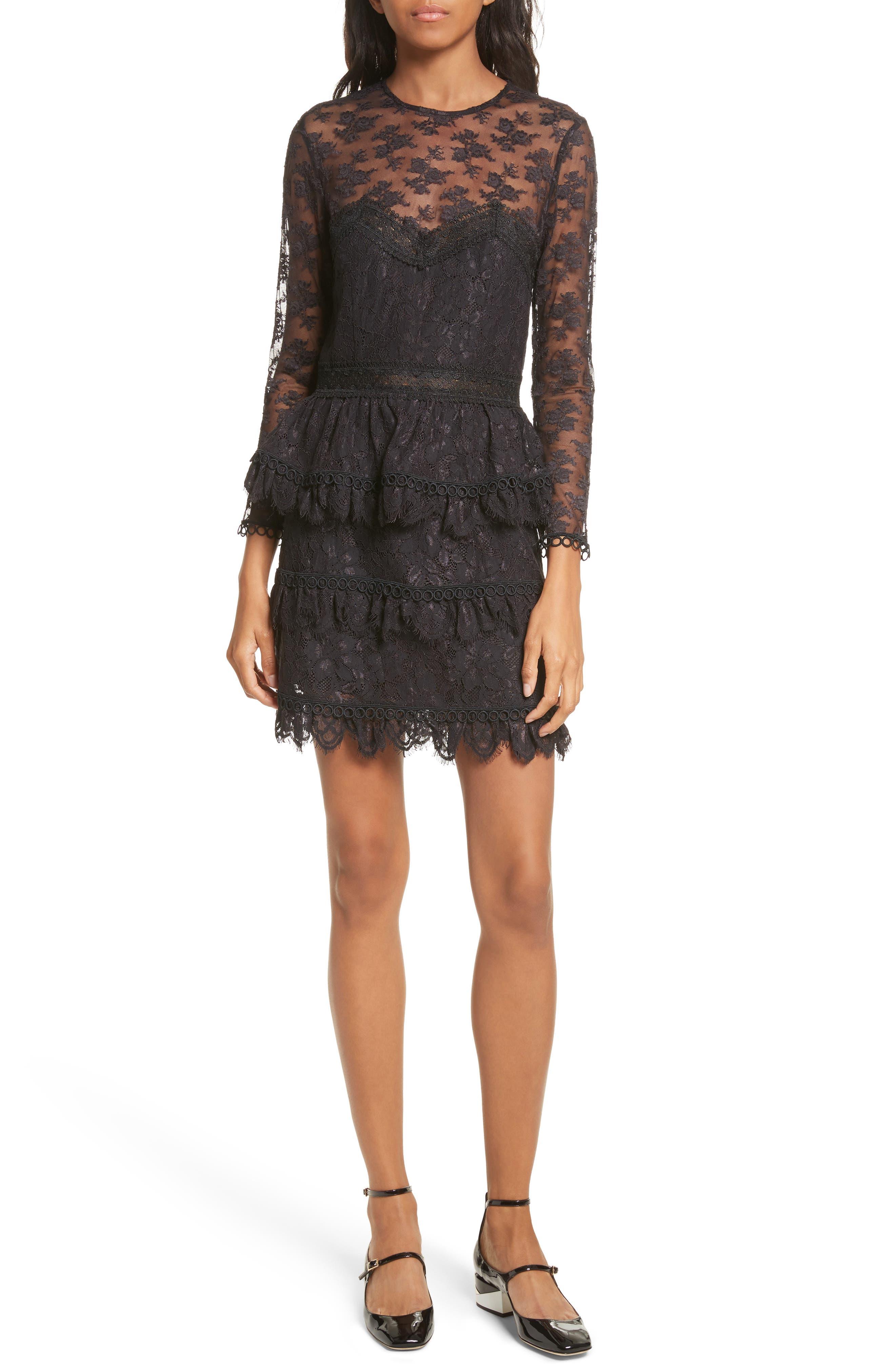 Floral Lace Dress,                         Main,                         color, Black