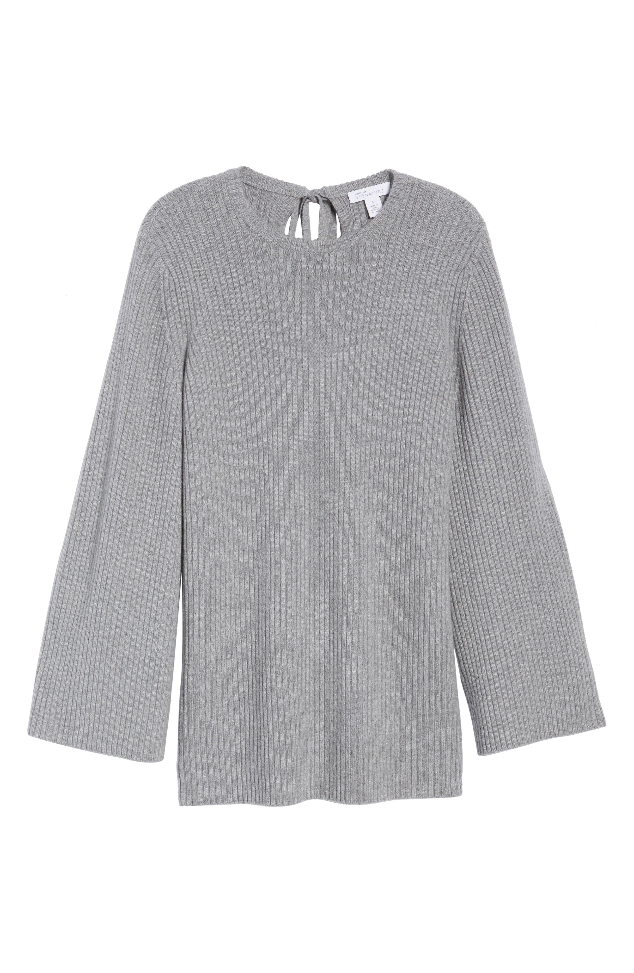 Tie Back Cashmere Blend Sweater,                             Alternate thumbnail 6, color,                             Grey Filigree Heather